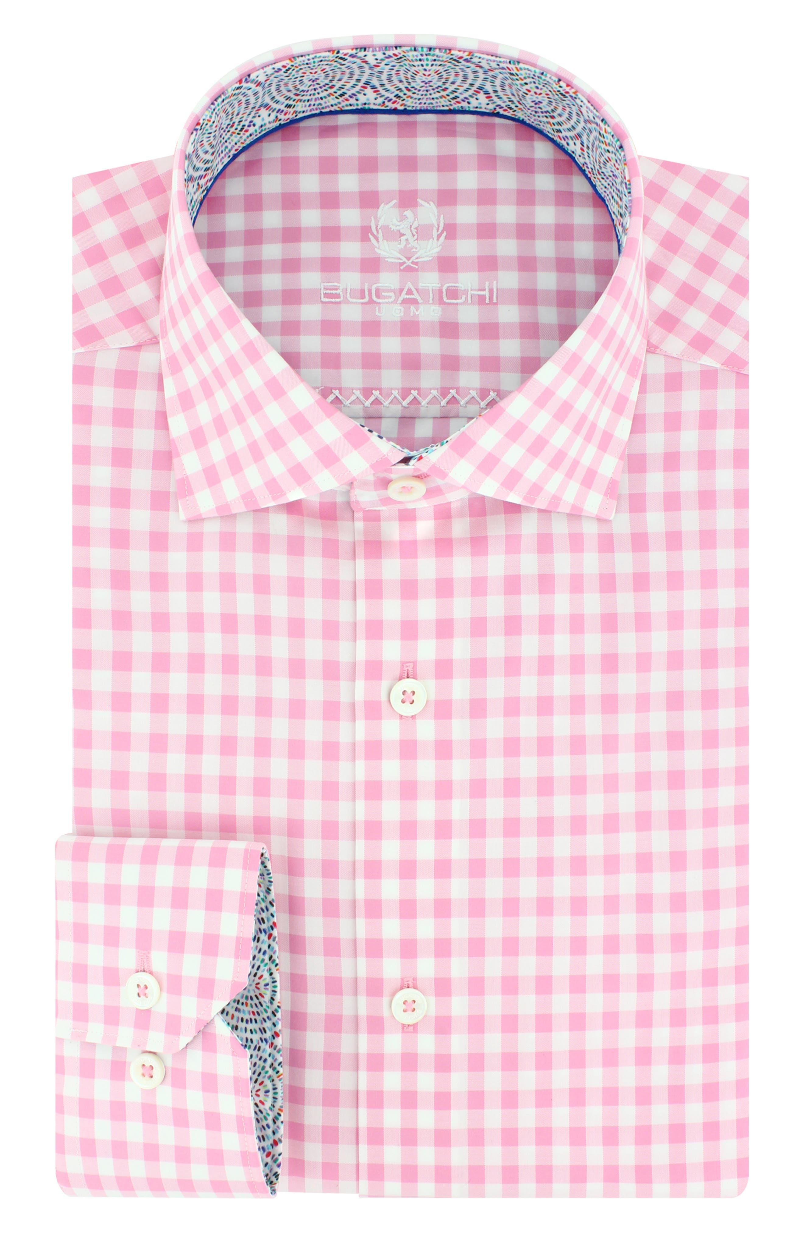 Bugatchi Trim Fit Check Dress Shirt (Regular & Big)
