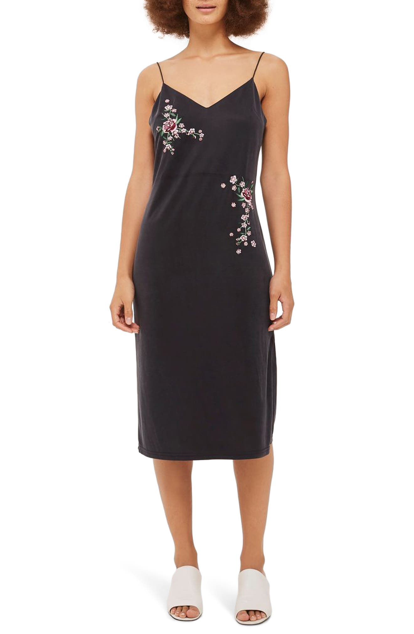 Topshop Embroidered Slipdress