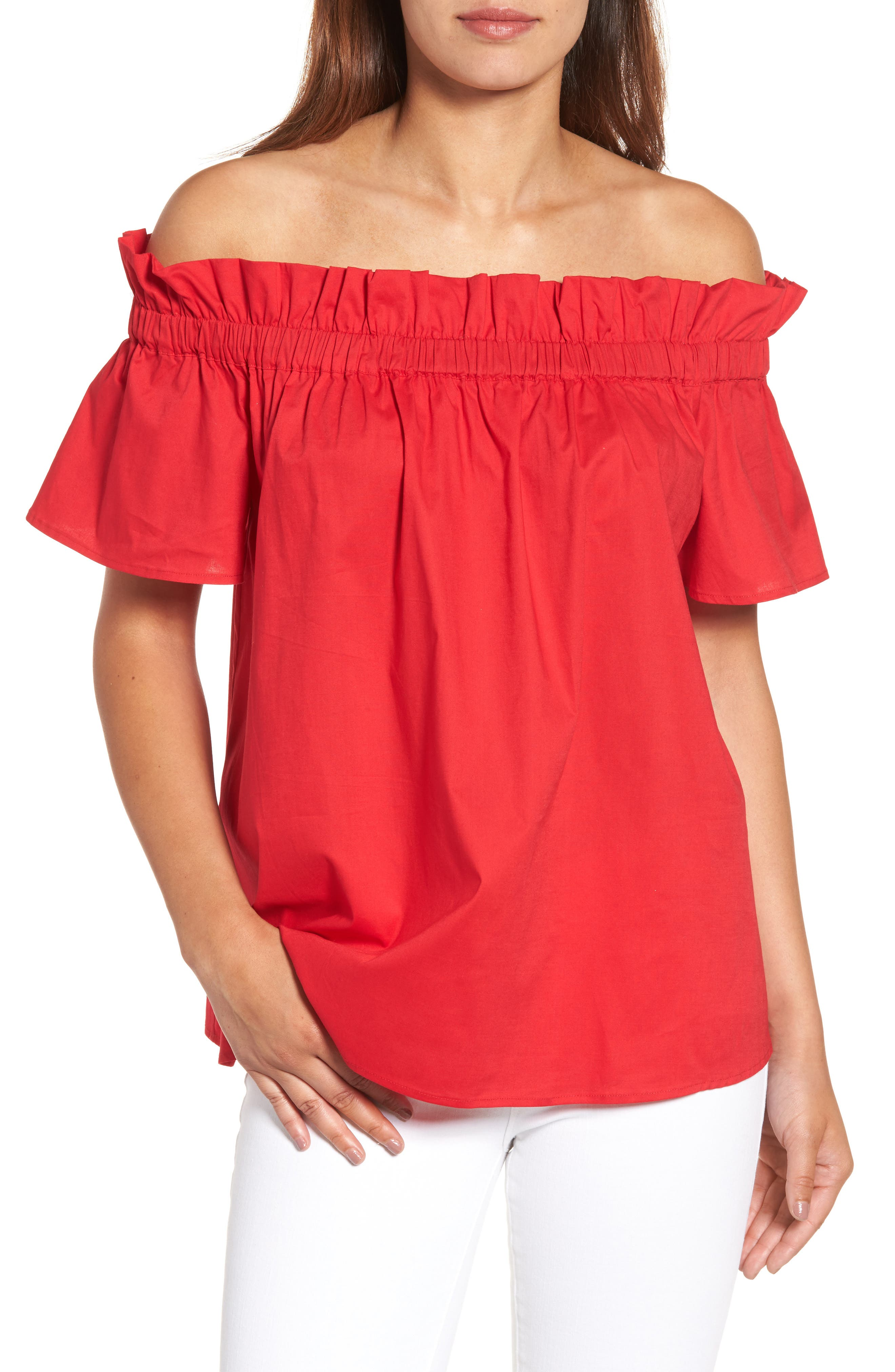 Pleione Ruffle Off the Shoulder Top