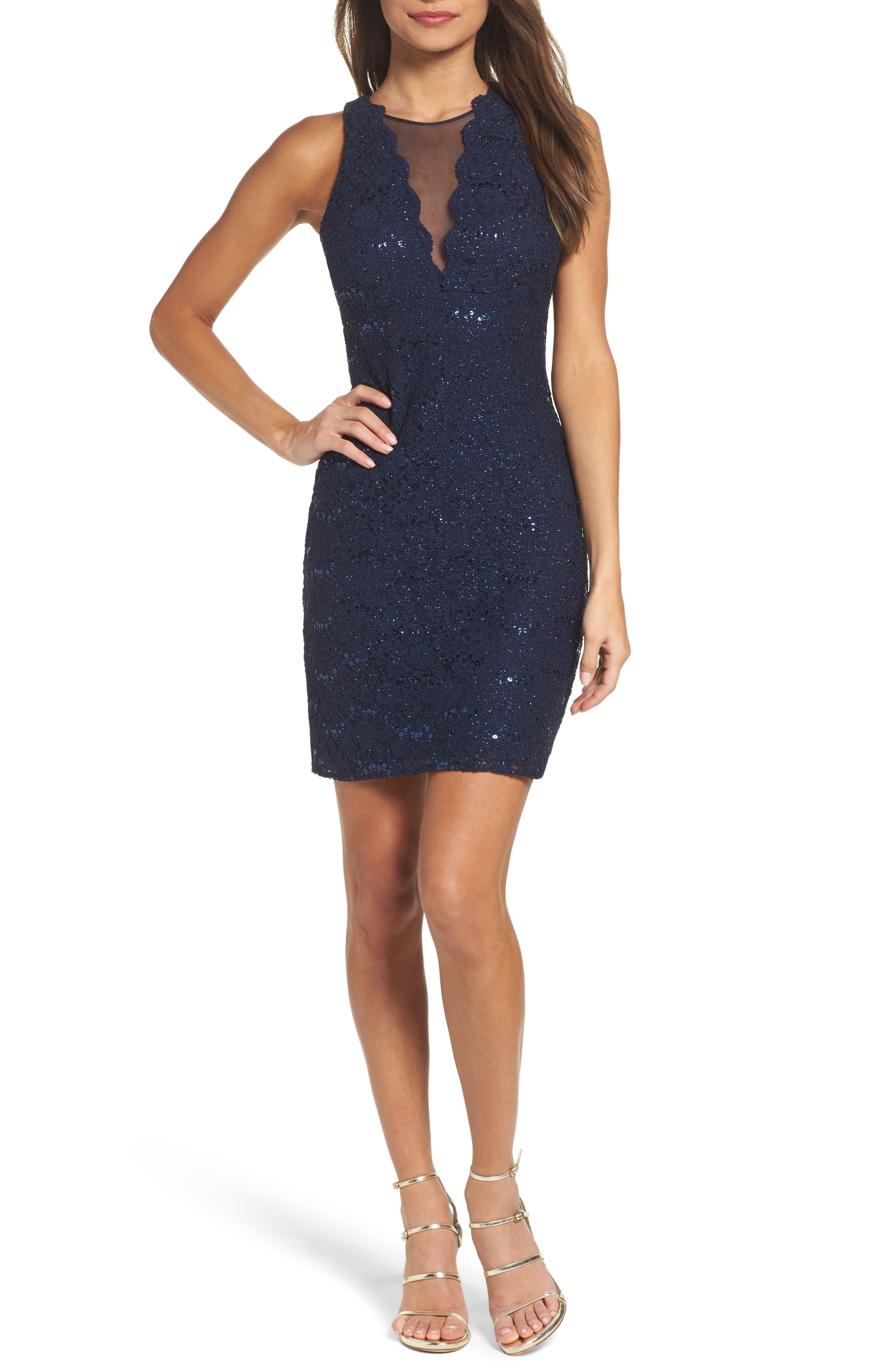 Morgan & Co. Lace Illusion Sheath Dress
