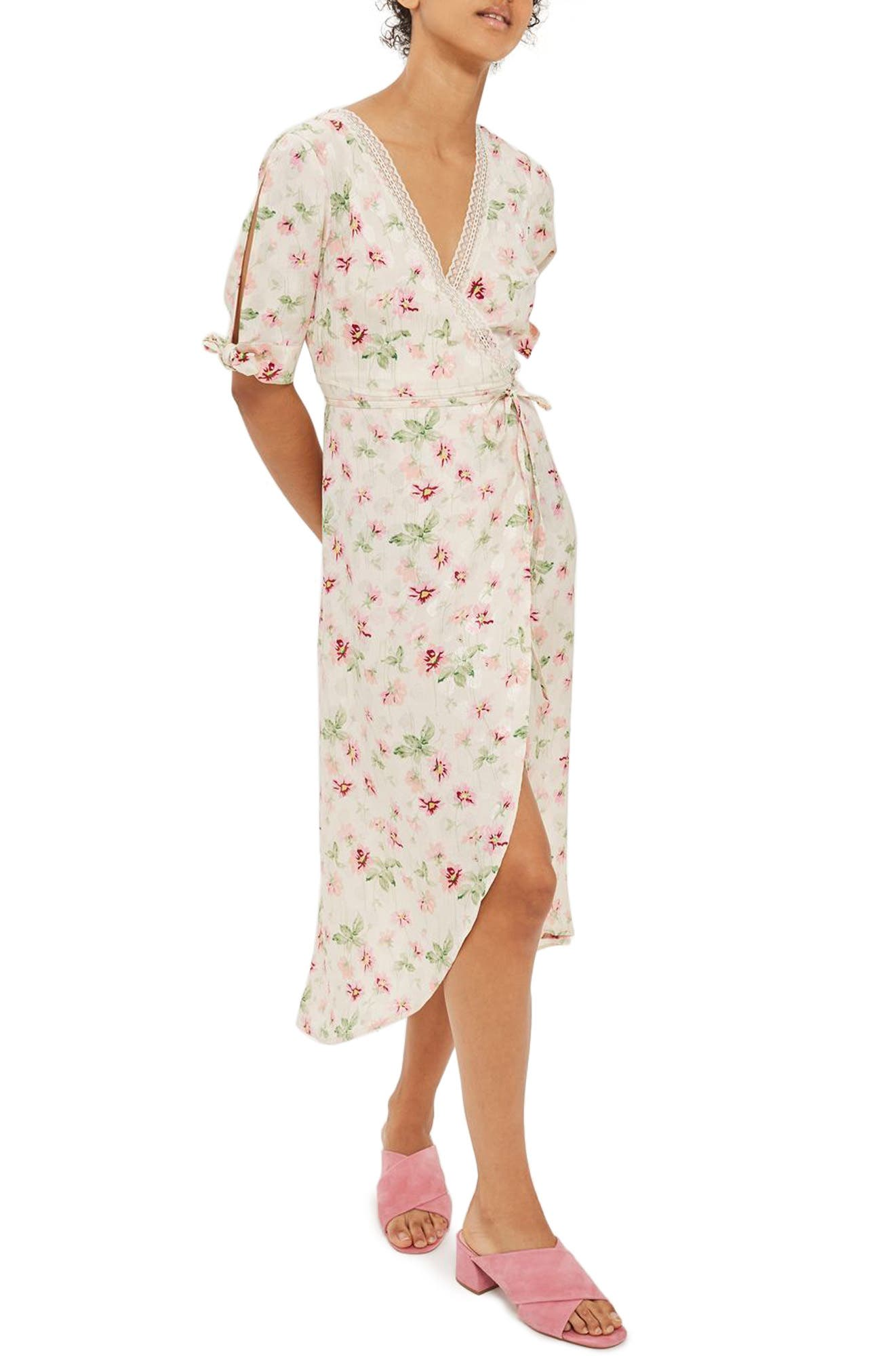 Topshop Floral Wrap Midi Dress