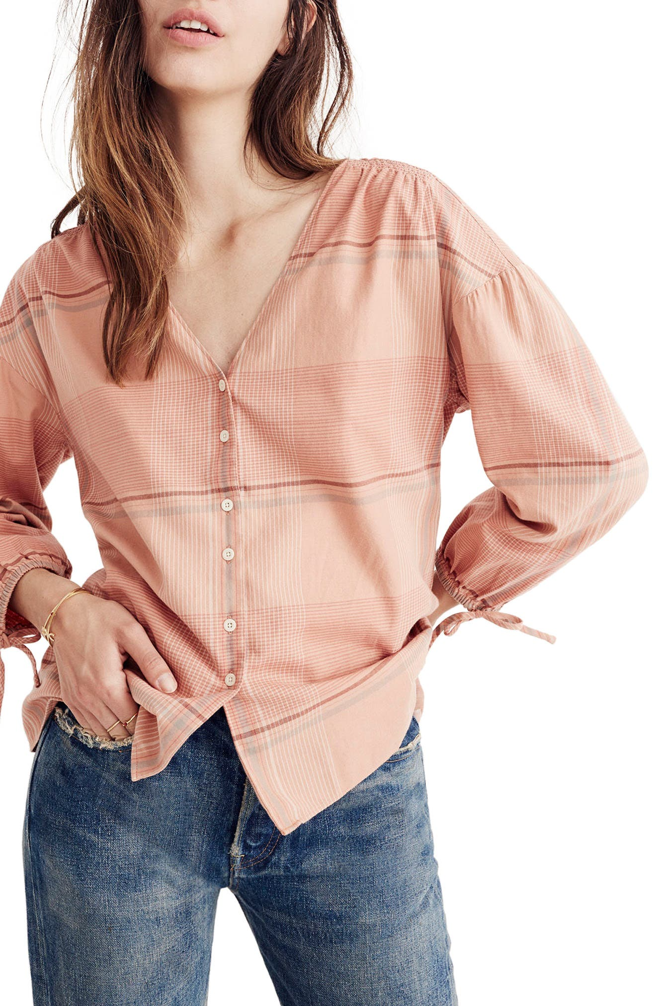 Madewell V-Neck Tie Sleeve Top