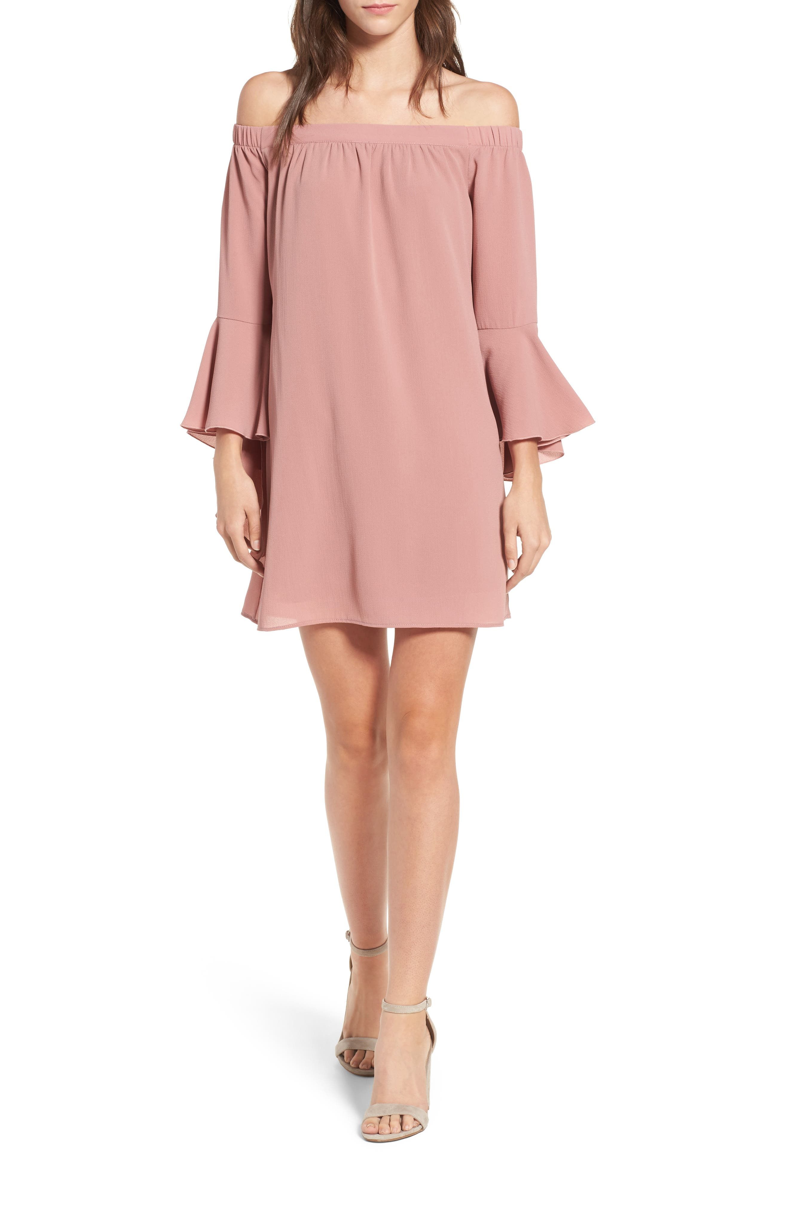Speechless Bell Sleeve Off the Shoulder Shift Dress