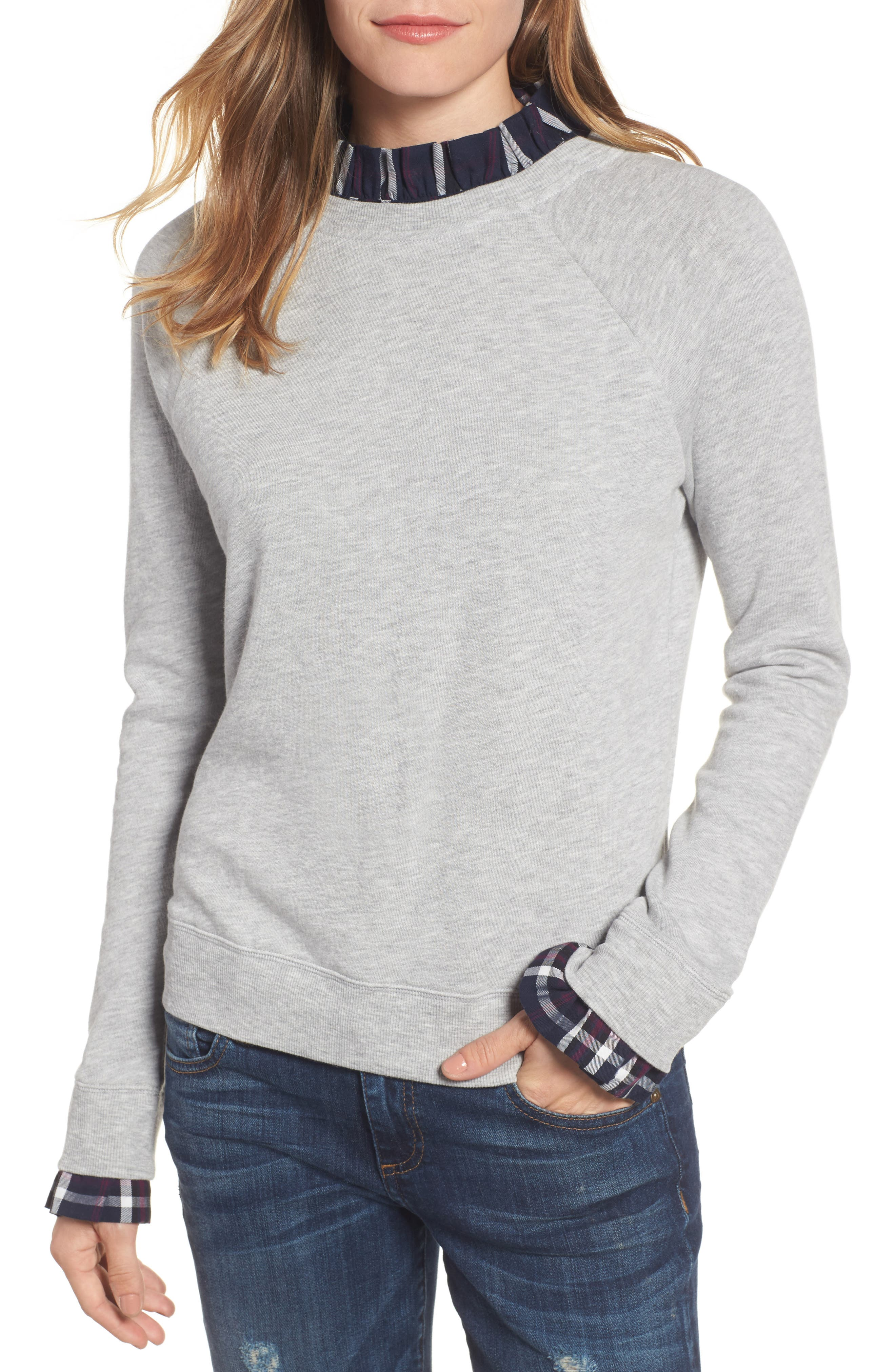 Halogen® Removable Collar Sweatshirt (Regular & Petite)