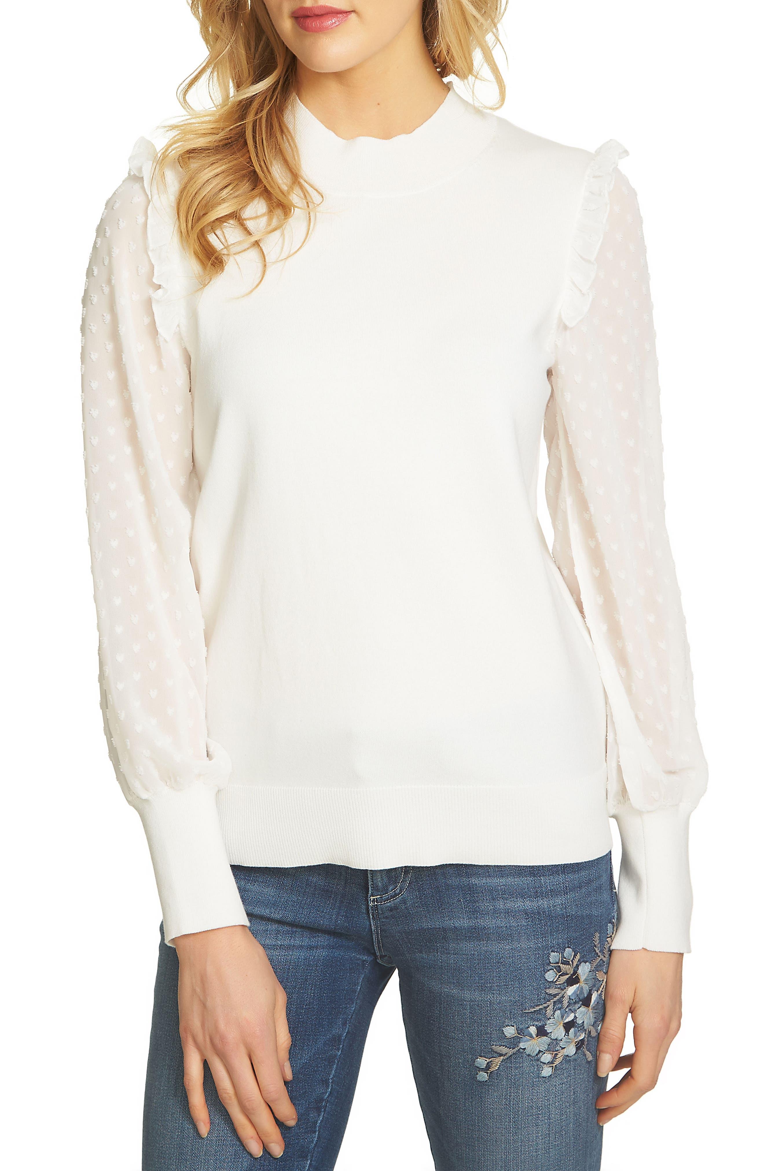 CeCe Swiss Dot Chiffon Sleeve Sweater