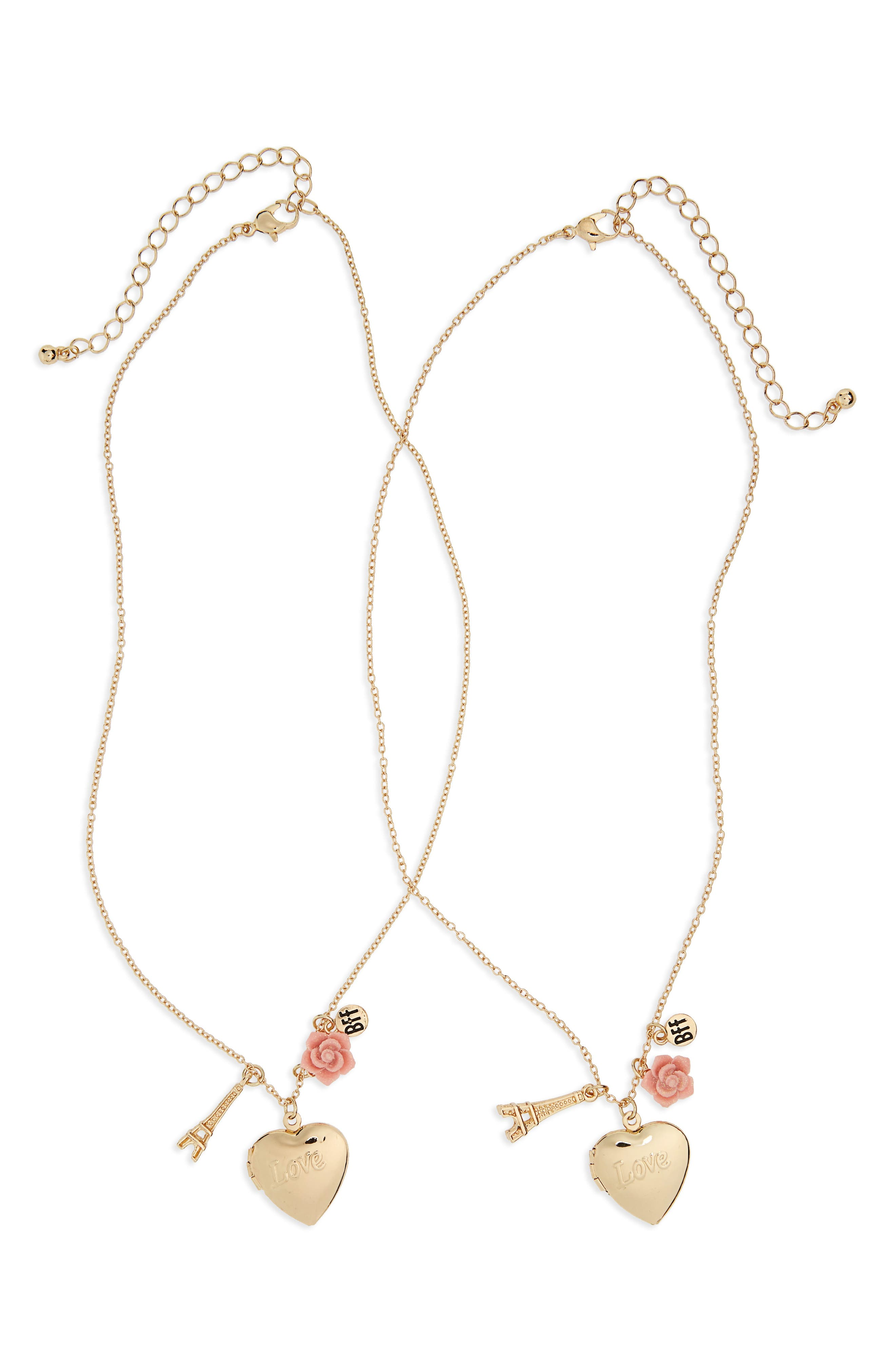 Capelli of New York Set of 2 Heart Paris BFF Necklaces (Girls)