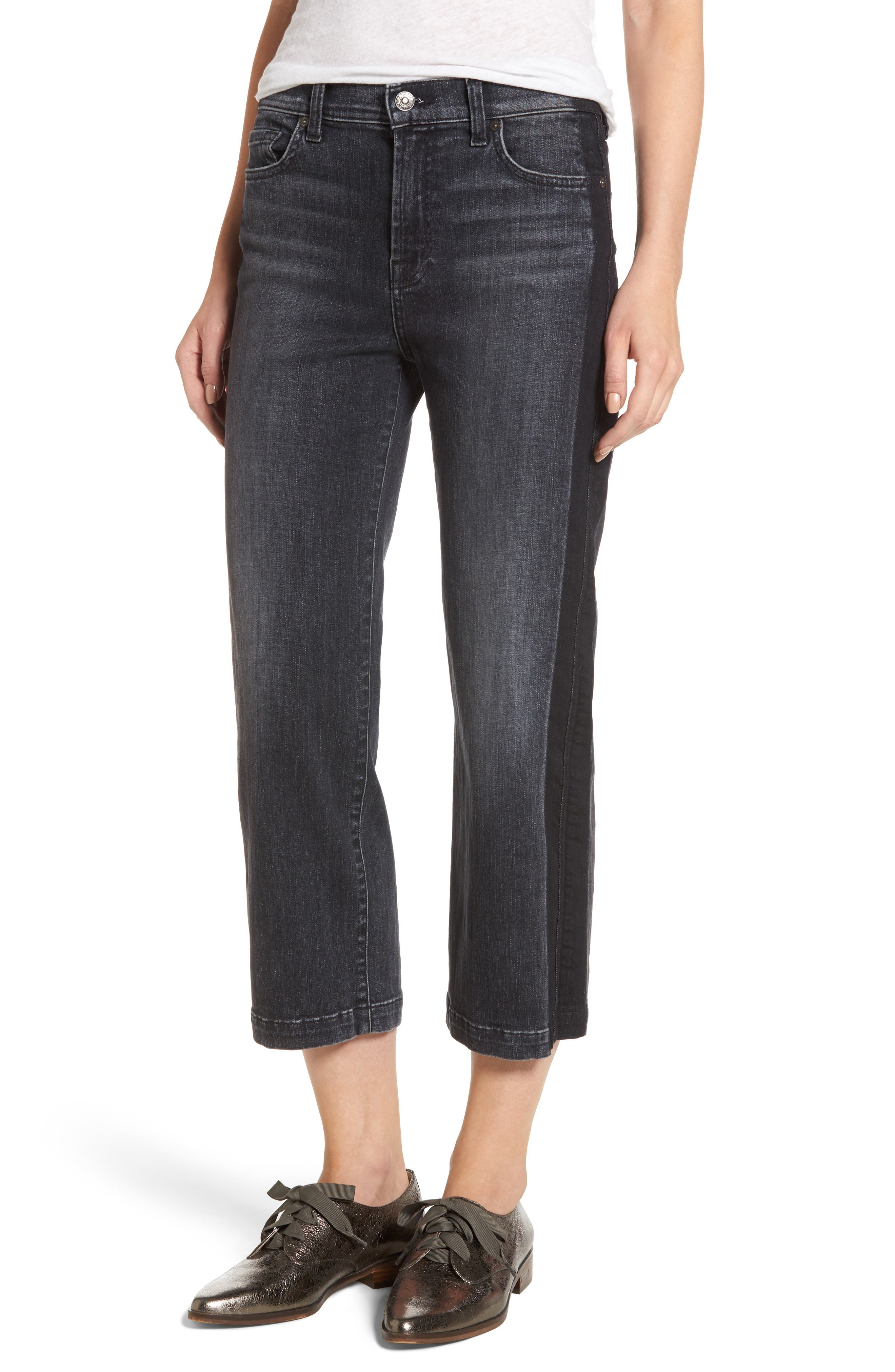 7 For All Mankind® Kiki High Waist Crop Straight Leg Jeans (Vintage Noir)