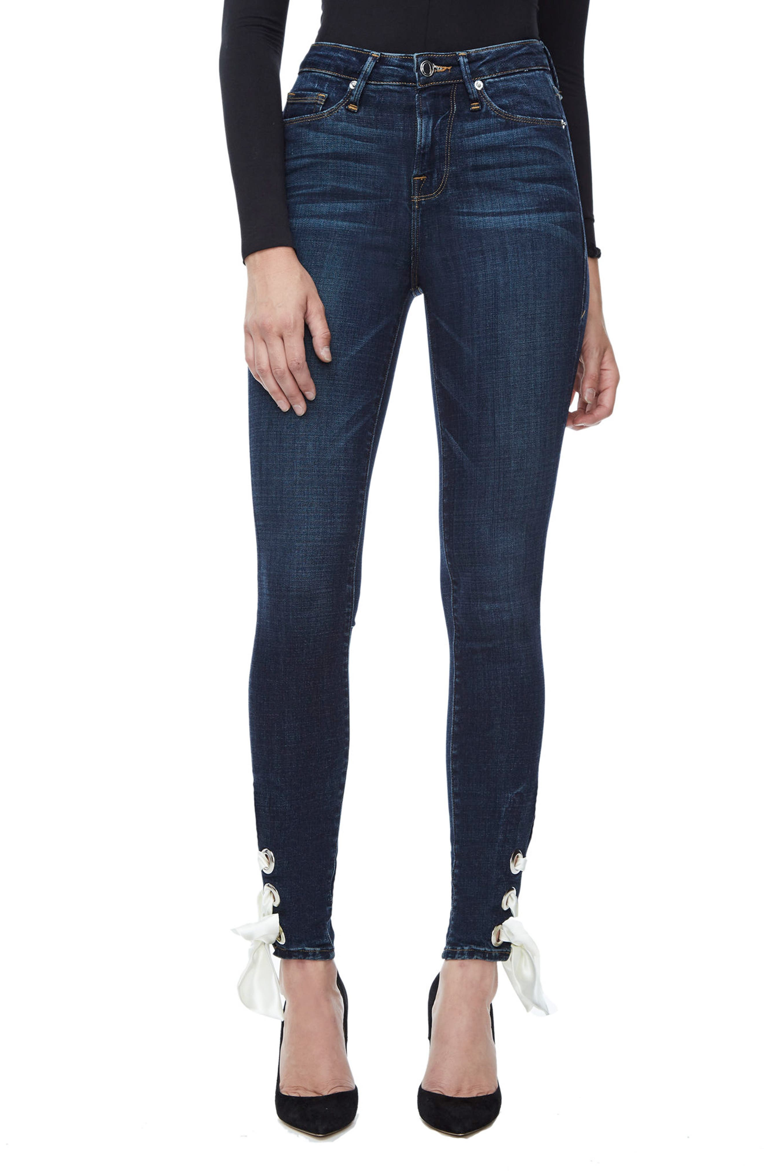 Good American Good Waist Ultra High Waist Ankle Skinny Jeans (Blue 102) (Extended Sizes)
