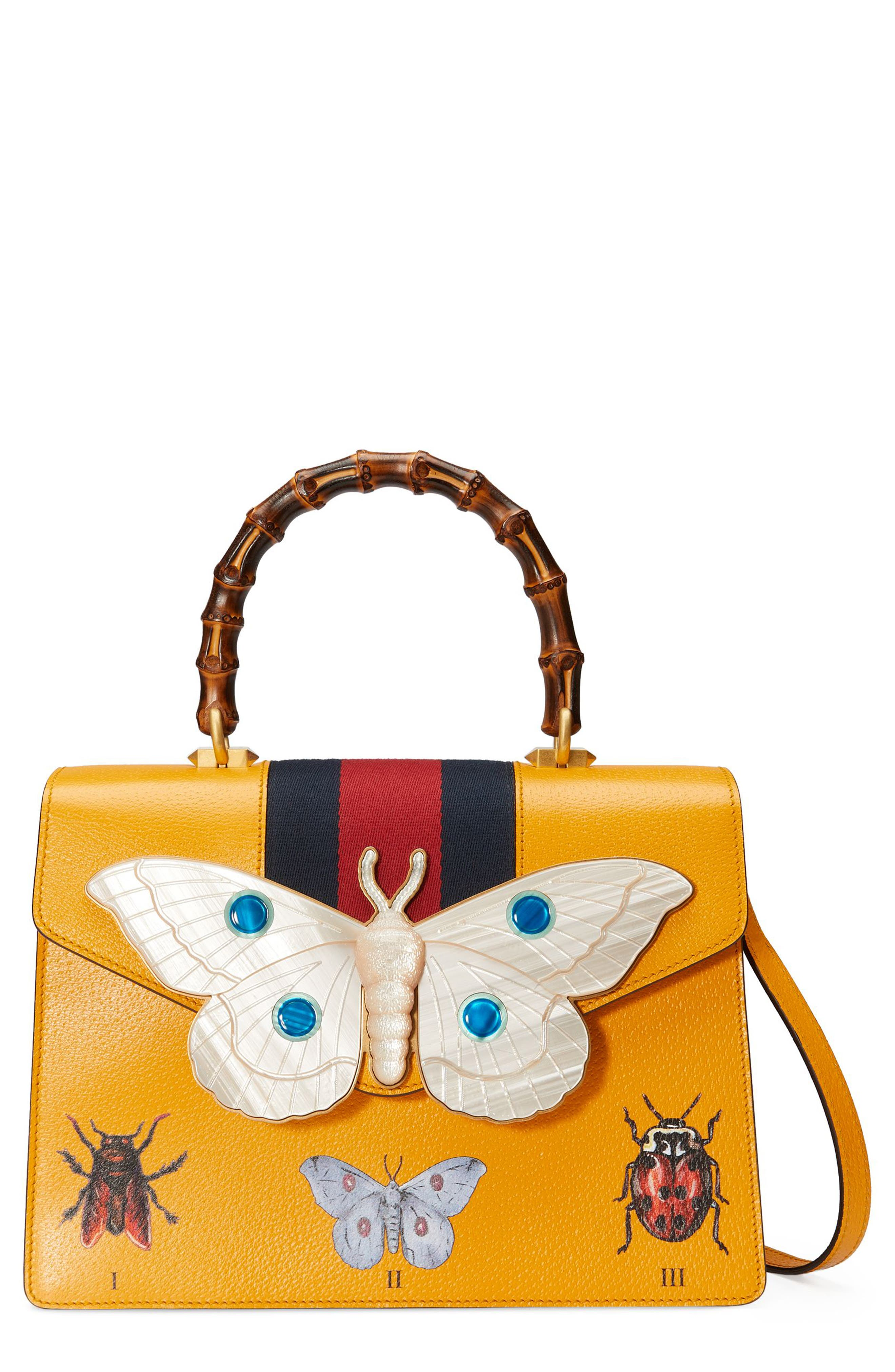 Gucci Small Falena Moth Top Handle Leather Satchel