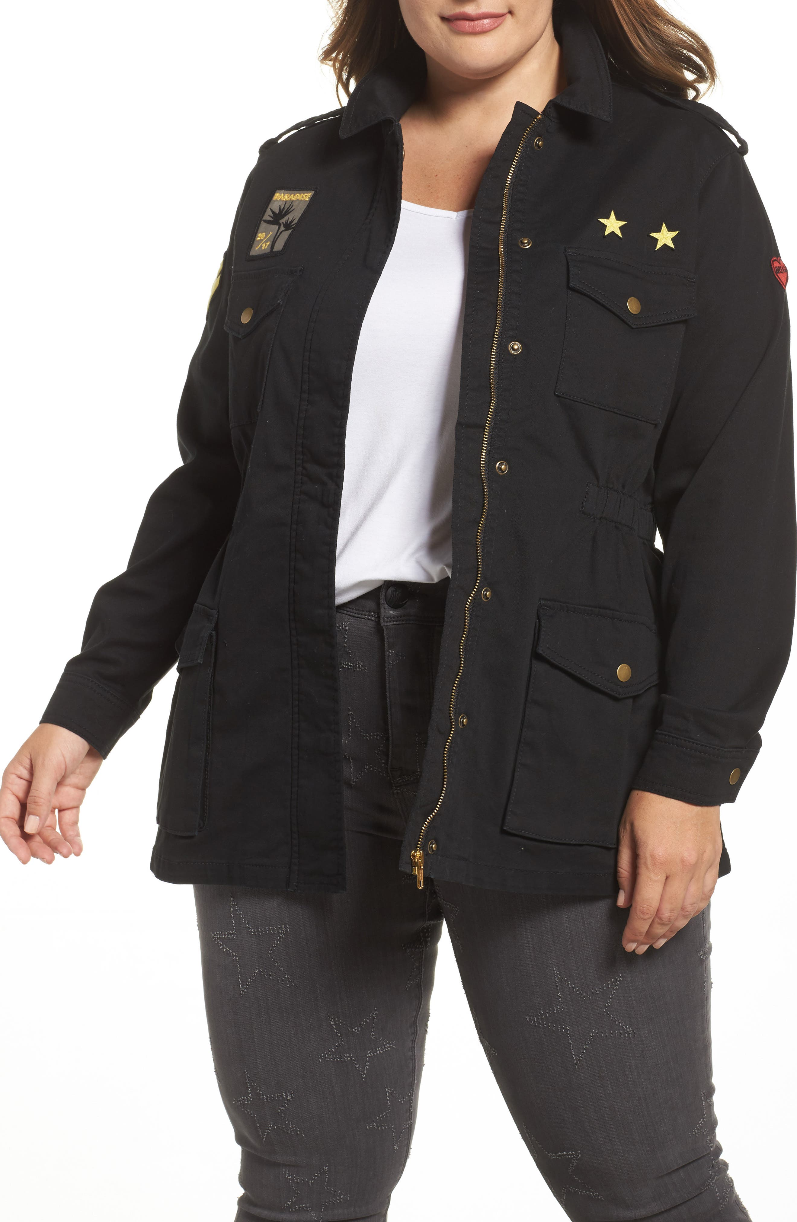 Melissa McCarthy Seven7 Patched Cargo Jacket (Plus Size)
