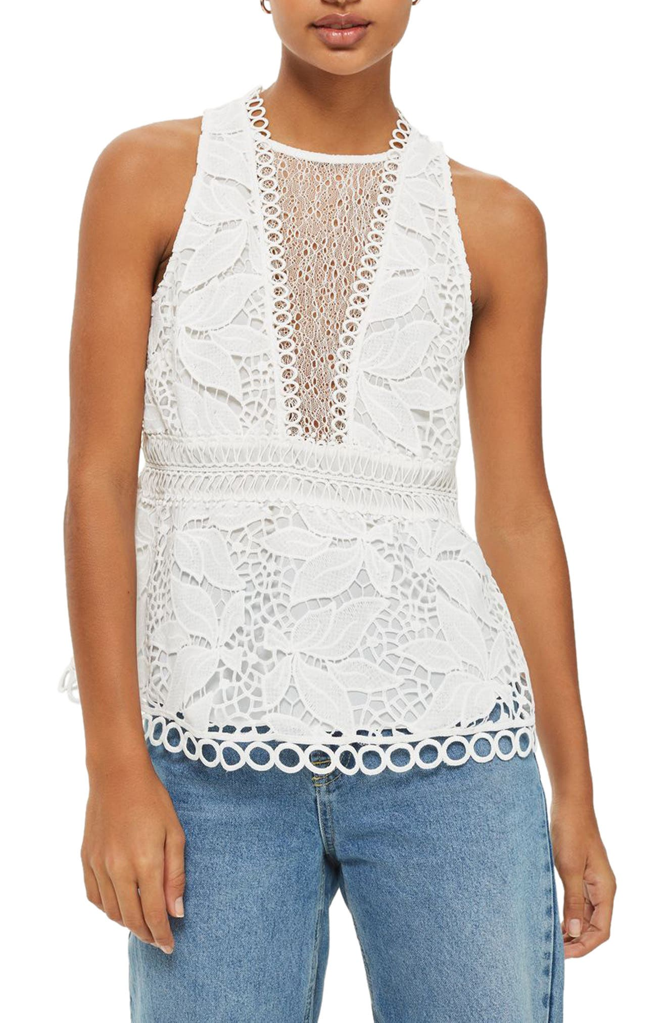 Topshop Lace Peplum Top