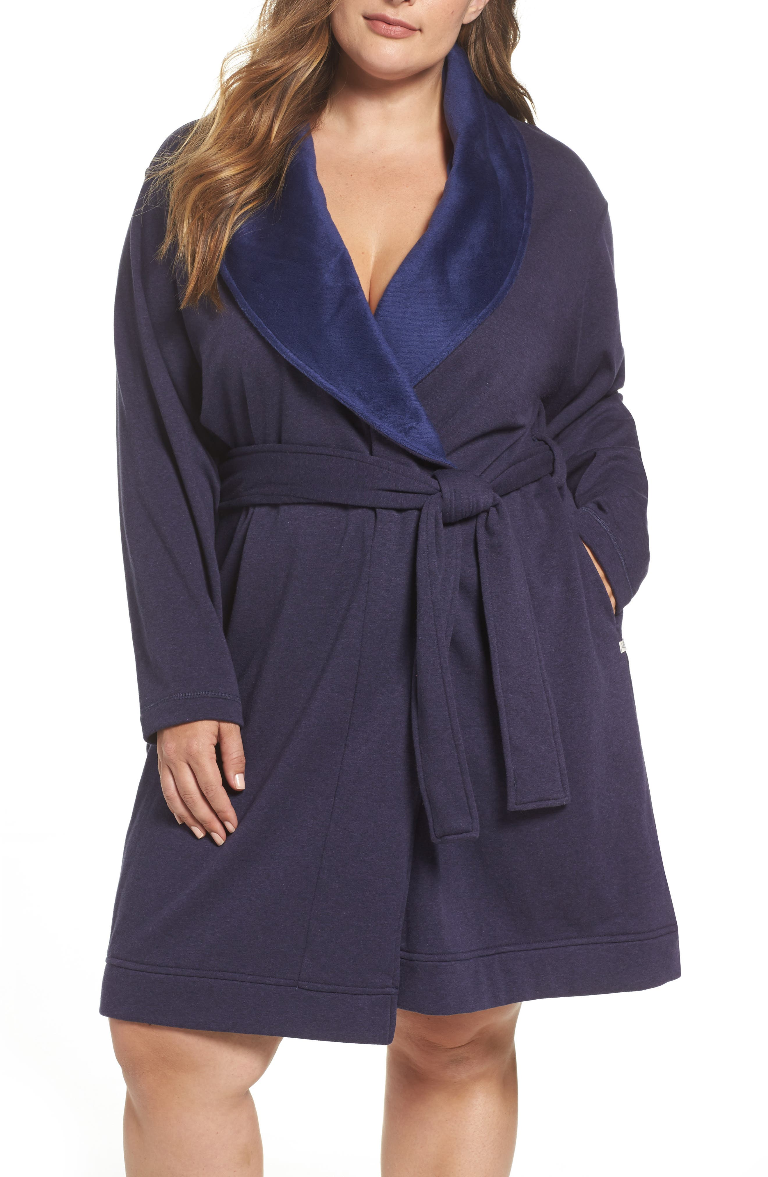 UGG® 'Blanche' Plush Shawl Collar Robe (Plus Size)