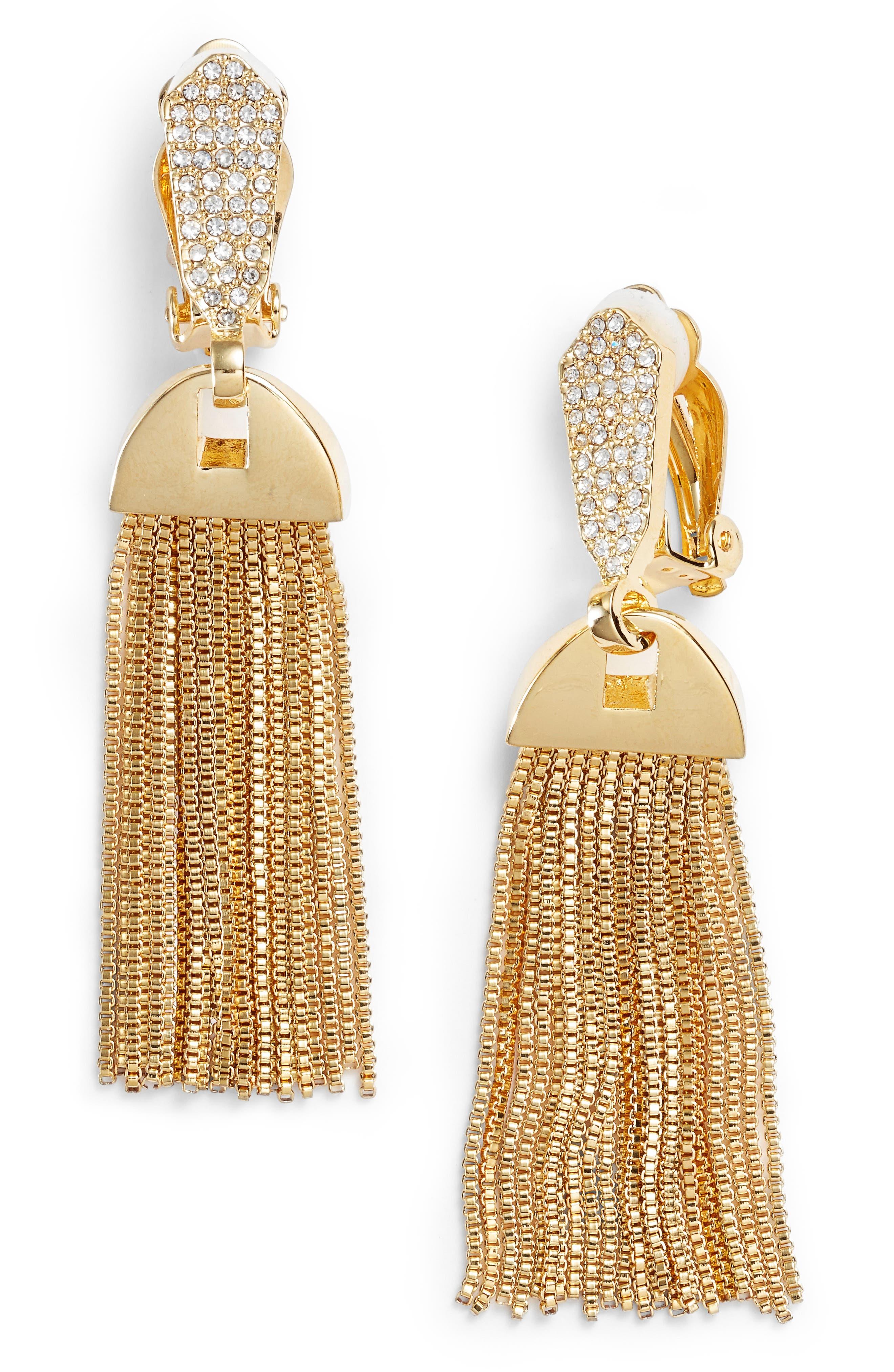 Vince Camuto Clip-On Tassel Drop Earrings