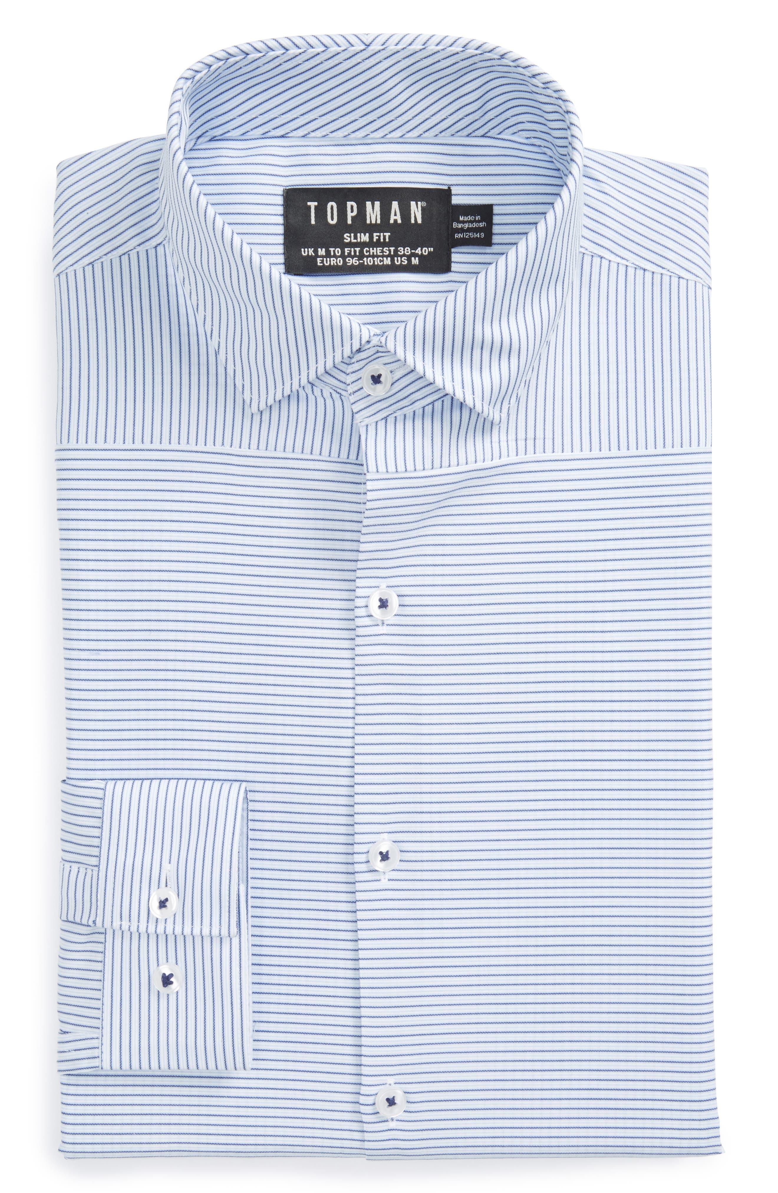 Topman Slim Fit Bias Stripe Dress Shirt