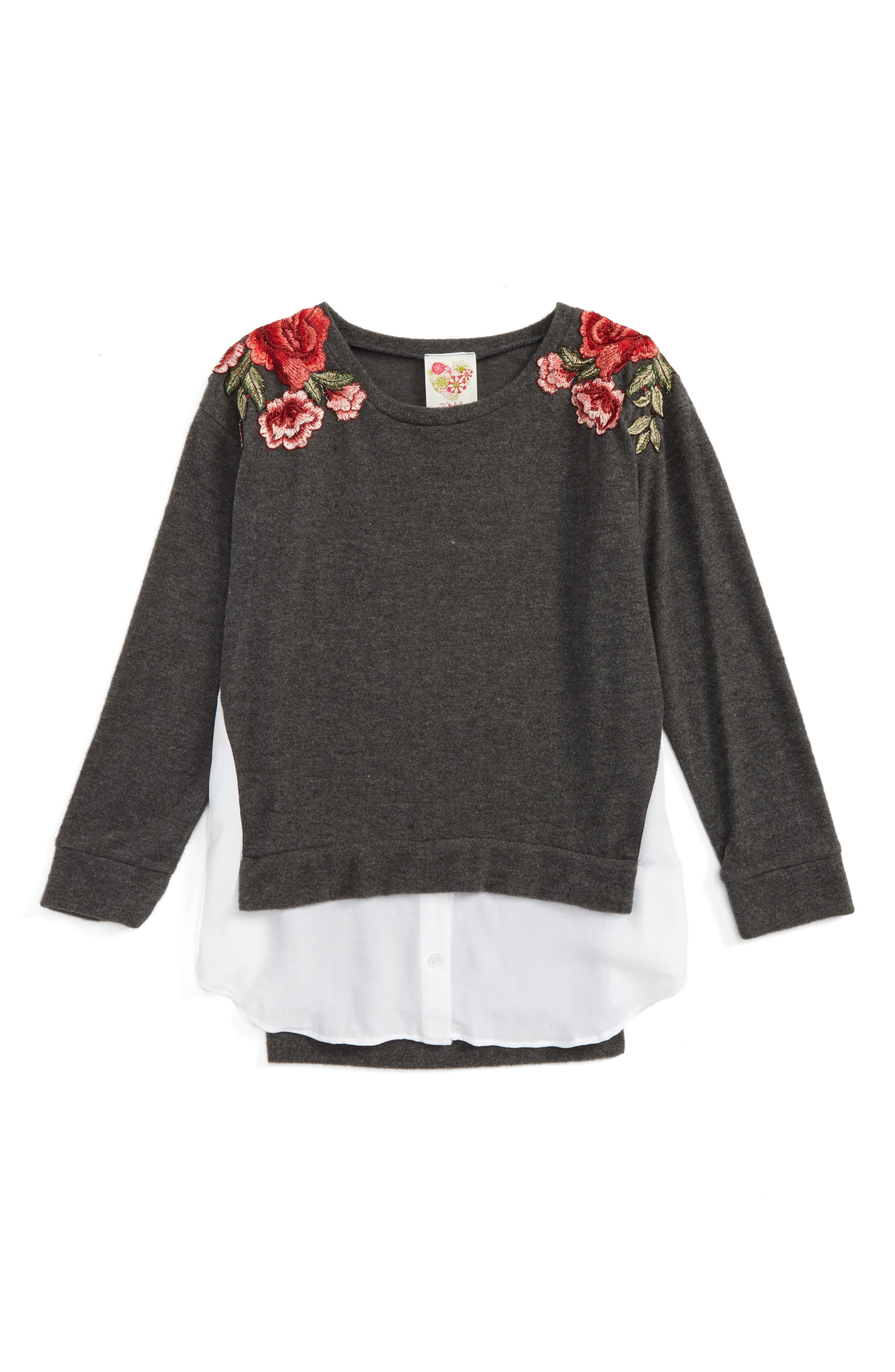 Kiddo Embroided Layered Pullover (Big Girls)