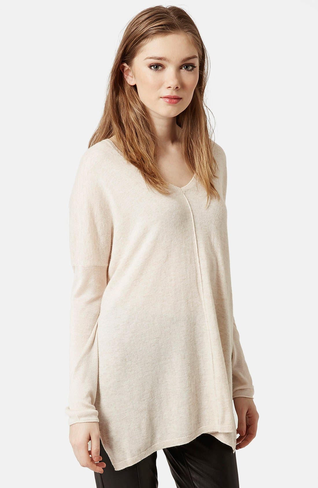 Alternate Image 1 Selected - Topshop Front Seam V-Neck Sweater