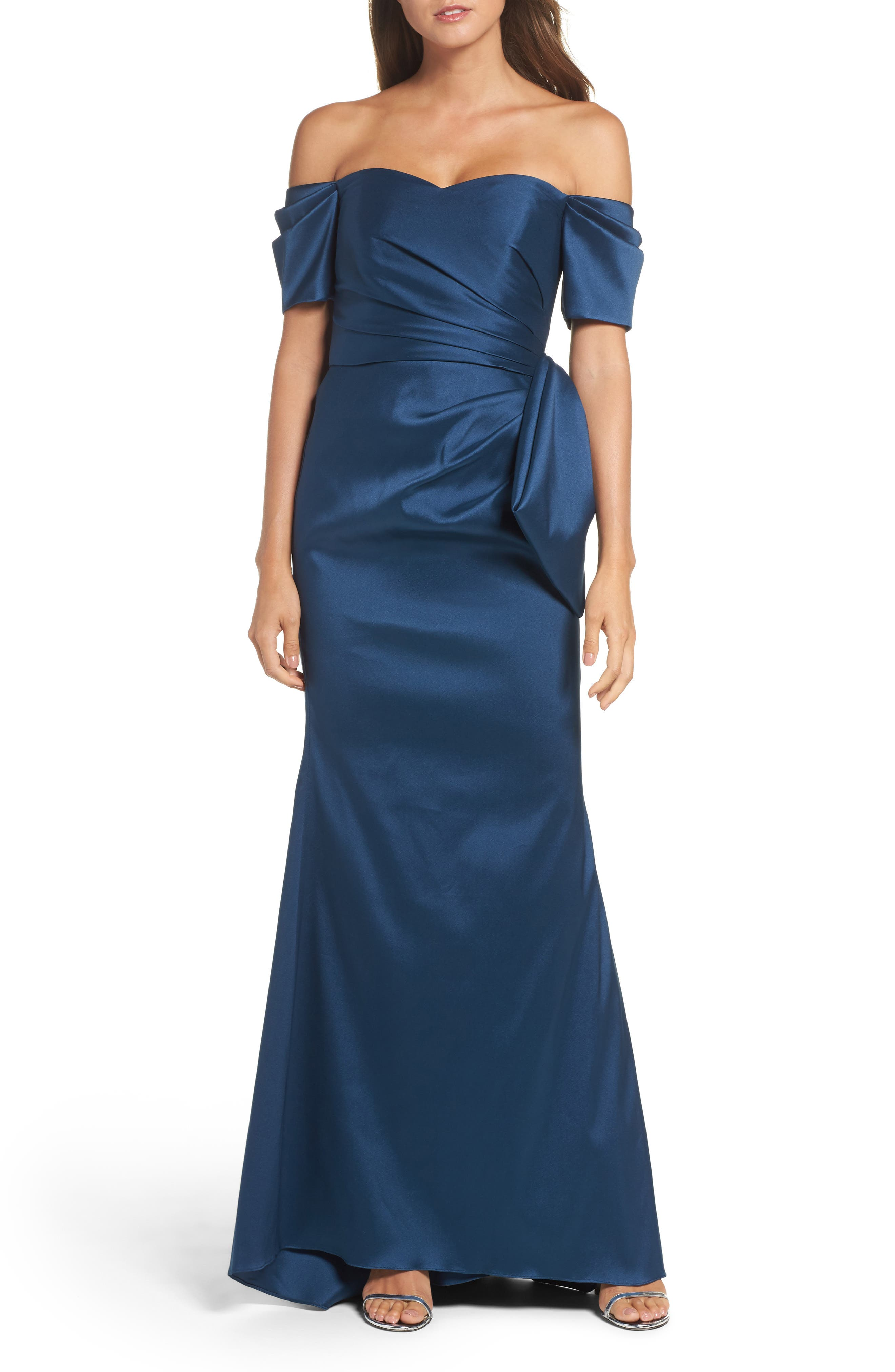 Badgley Mischka Bow Back Off the Shoulder Gown