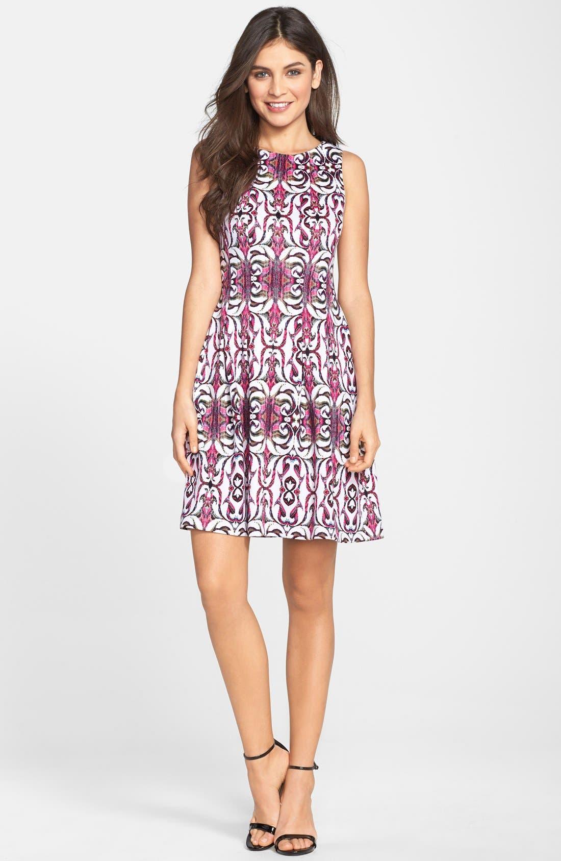 Alternate Image 3  - Gabby Skye Print Scuba Fit & Flare Dress