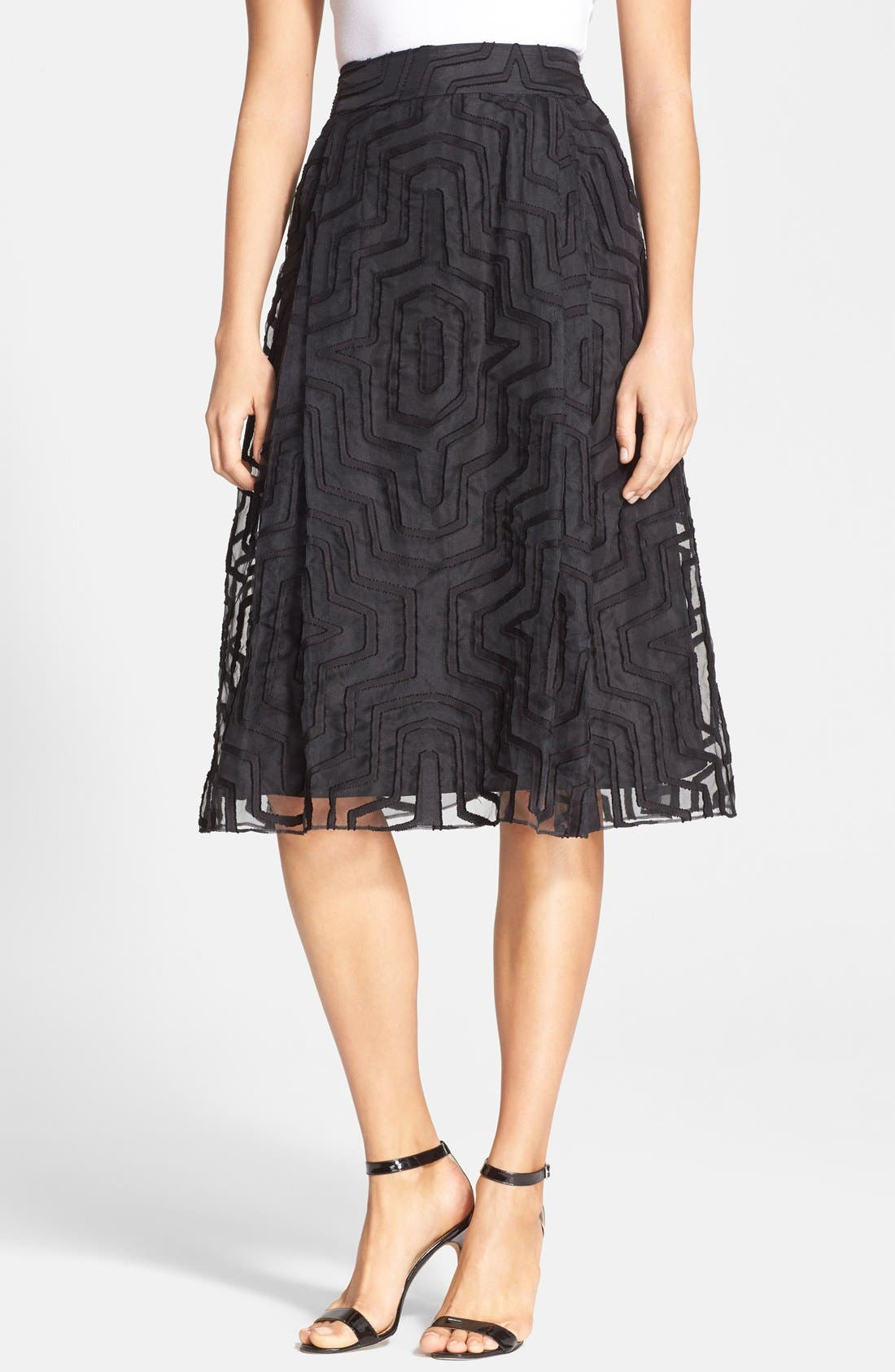Main Image - Milly Fil Coupe A-Line Midi Skirt