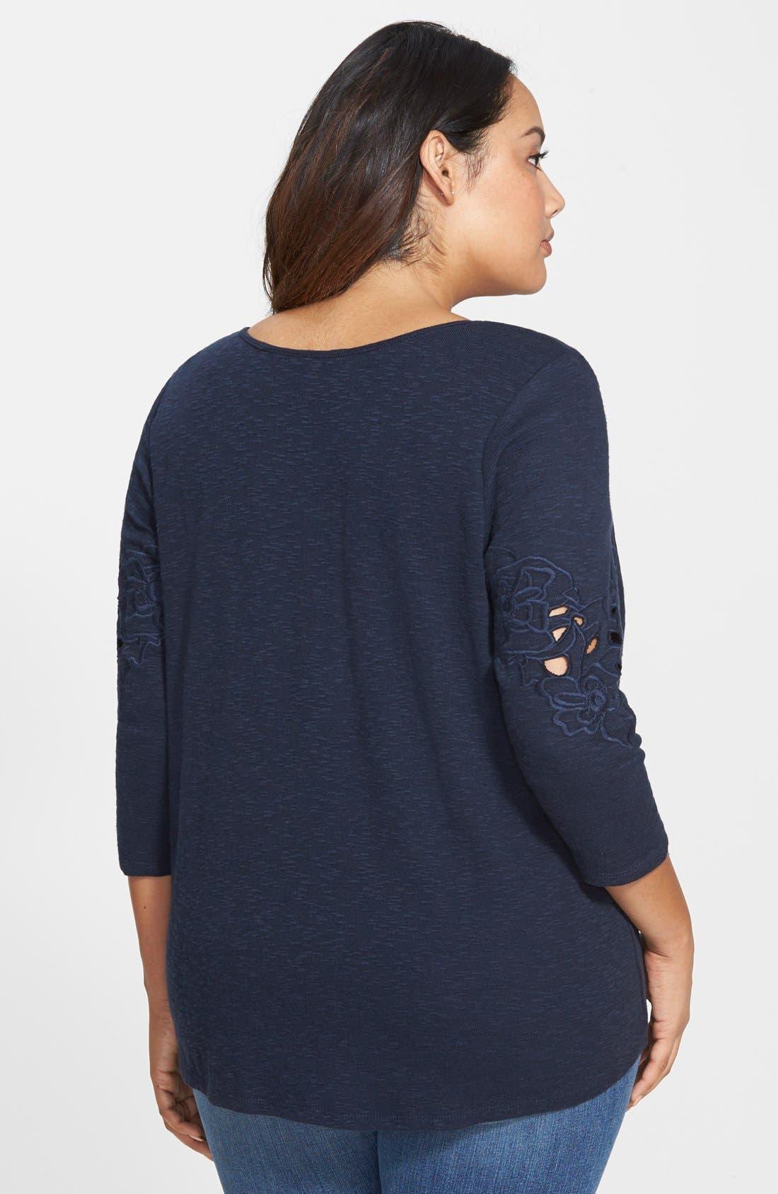 Alternate Image 2  - Jessica Simpson 'Jena' Cotton Top (Plus Size)