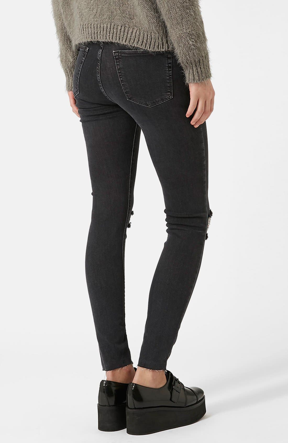 Alternate Image 3  - Topshop Moto 'Jamie' Ripped Ankle Skinny Jeans (Black)