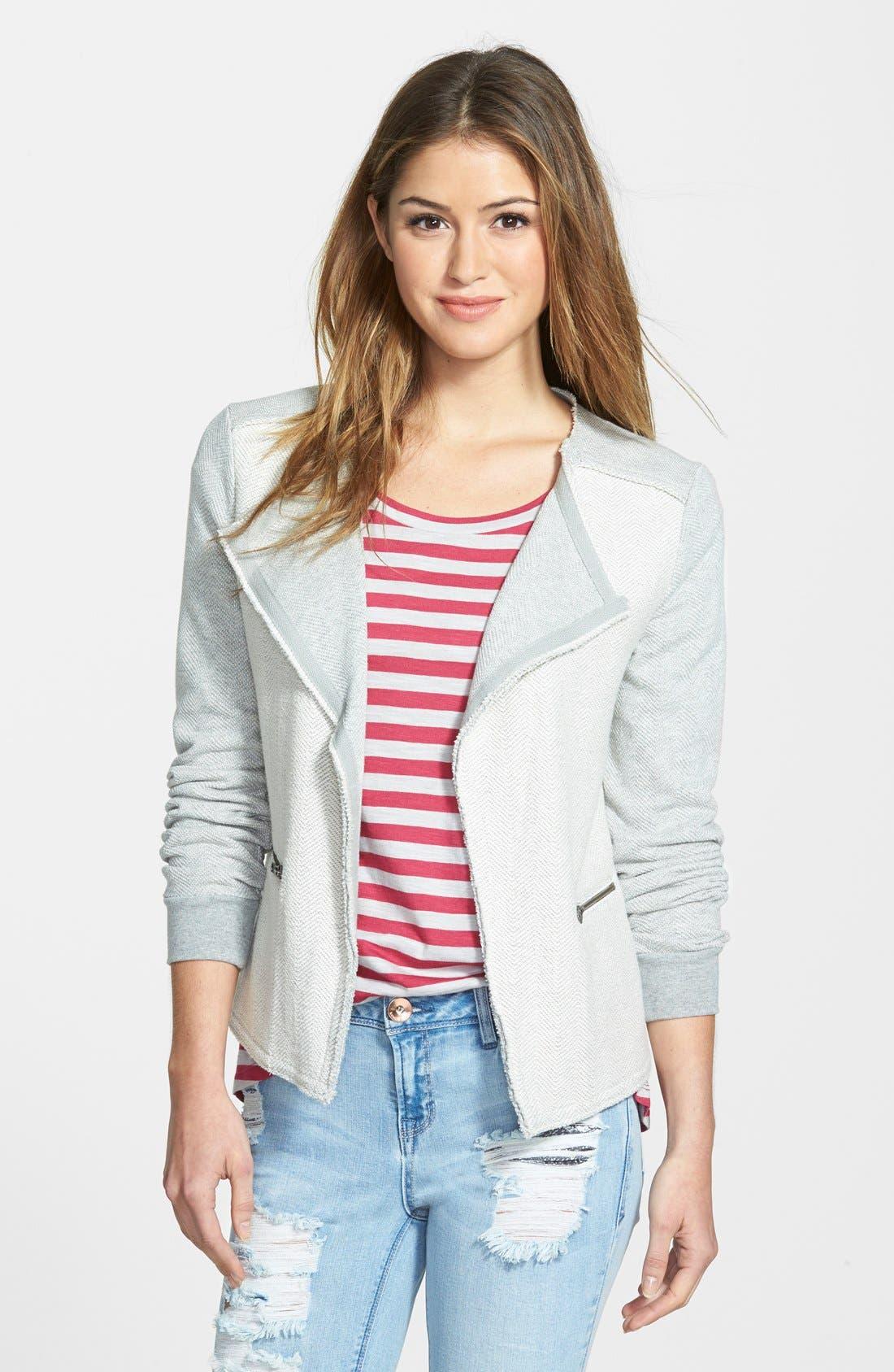 Alternate Image 1  - Caslon® Herringbone Pattern Knit Jacket (Regular & Petite)