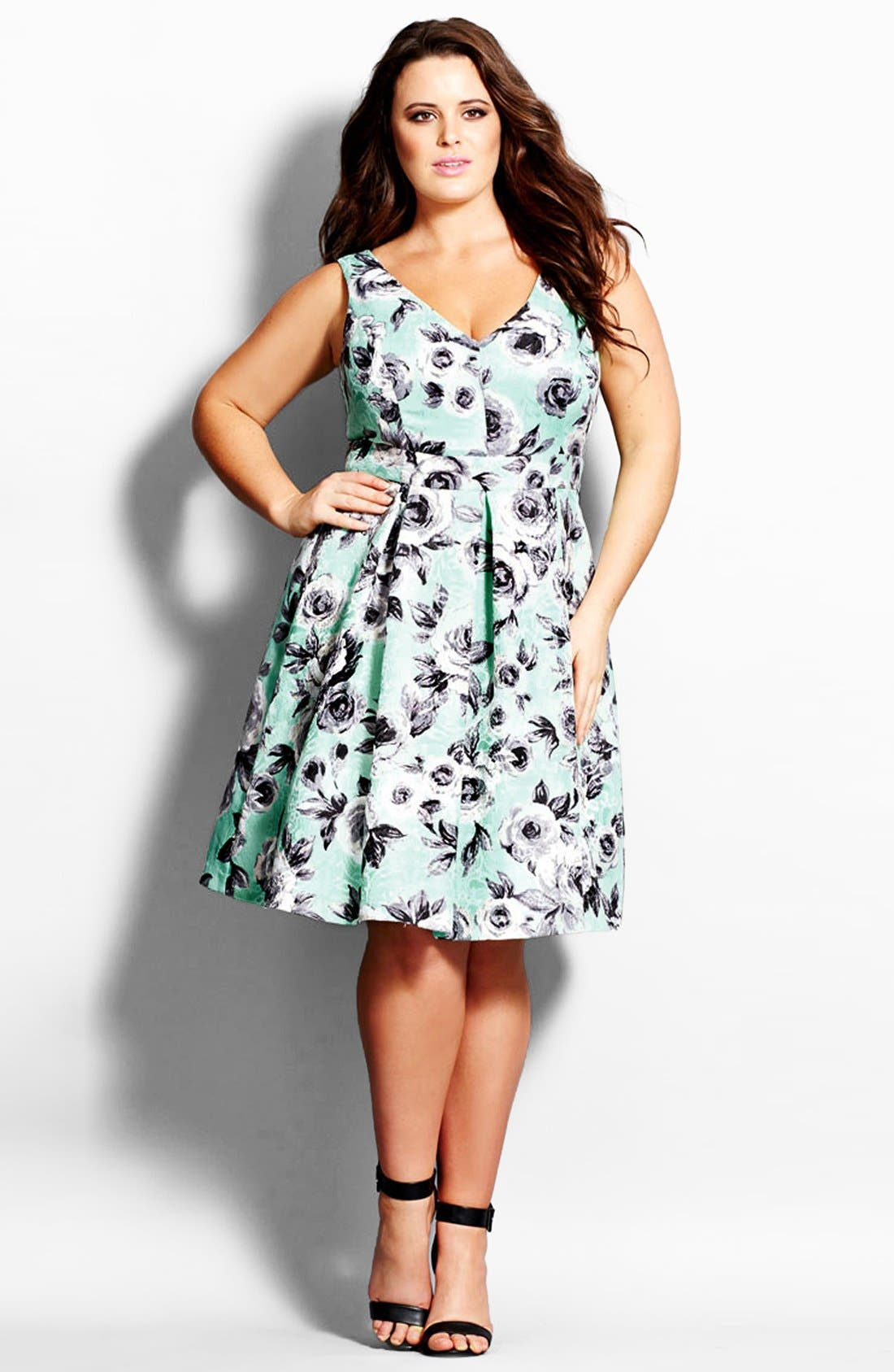 Alternate Image 1 Selected - City Chic Rose Jacquard Fit & Flare Dress (Plus Size)