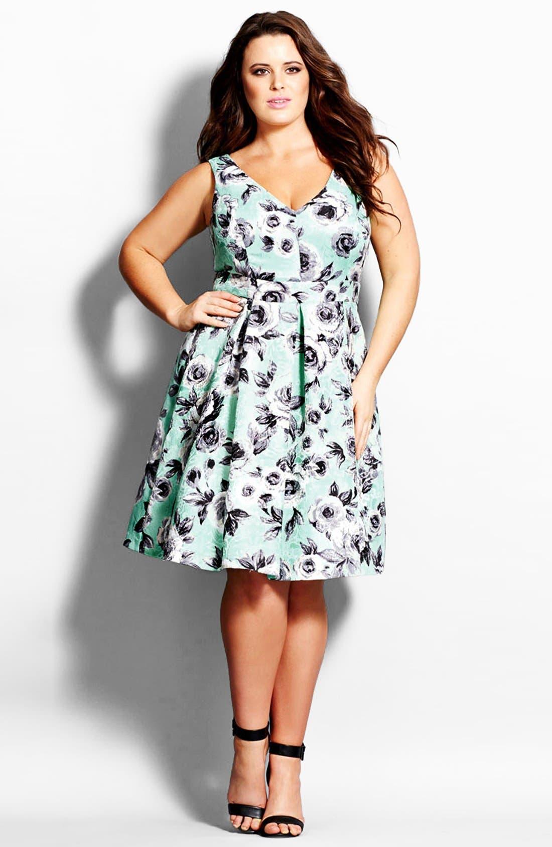 Main Image - City Chic Rose Jacquard Fit & Flare Dress (Plus Size)