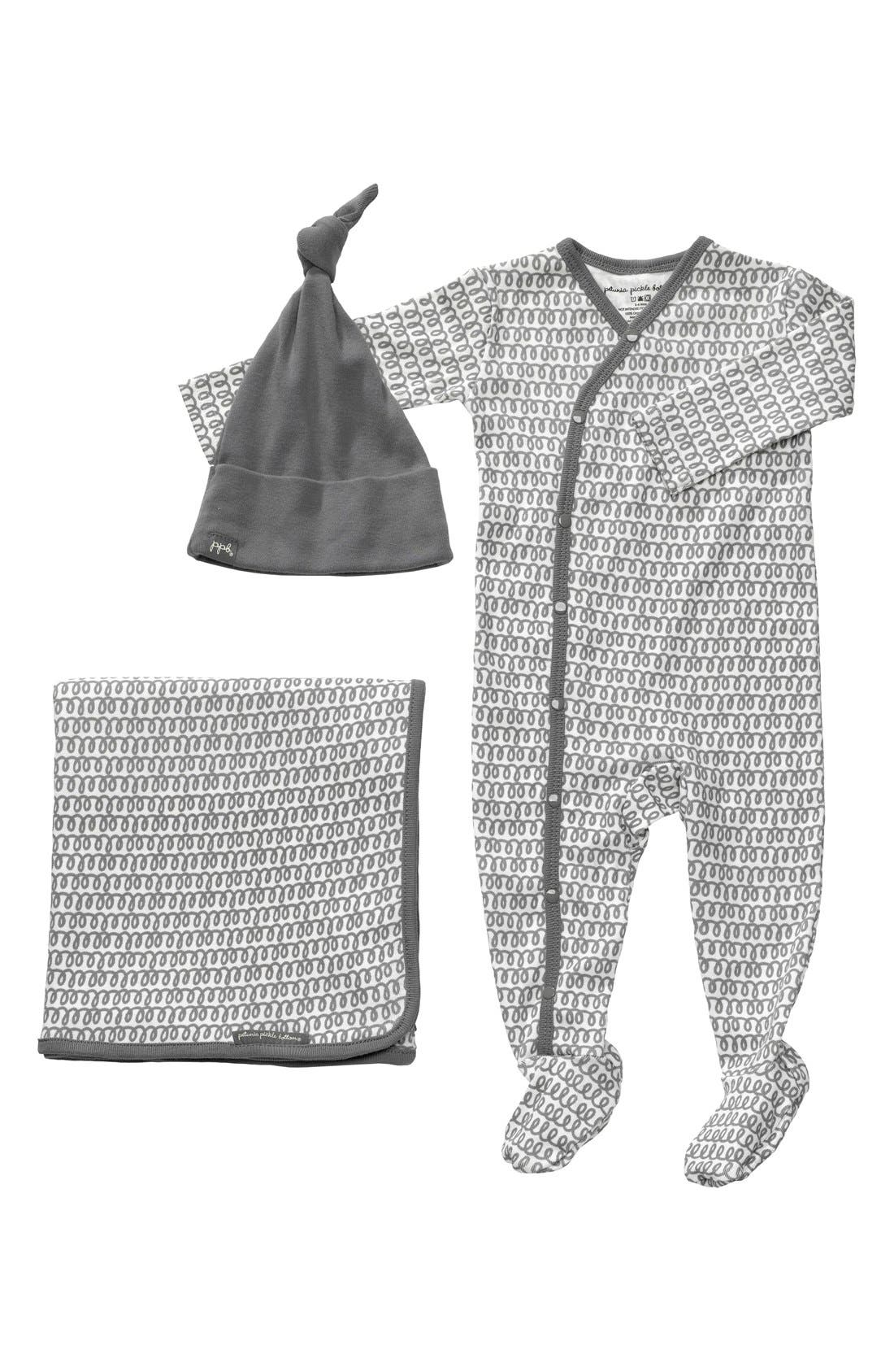 Alternate Image 1 Selected - Petunia Pickle Bottom 'Snuggle' Footie, Blanket & Hat Set (Baby)