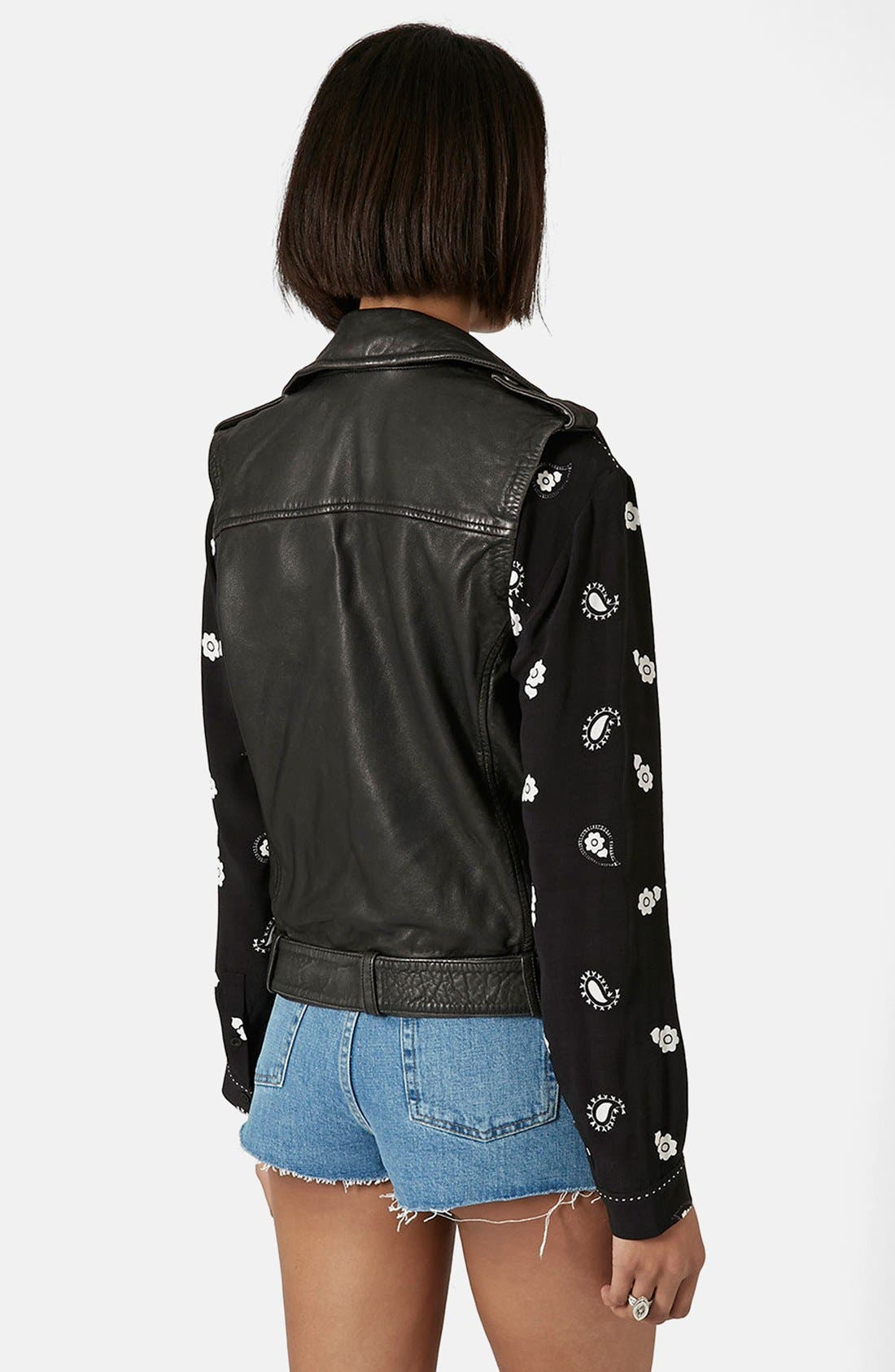 Alternate Image 2  - Topshop 'Sylvia' Leather Biker Vest