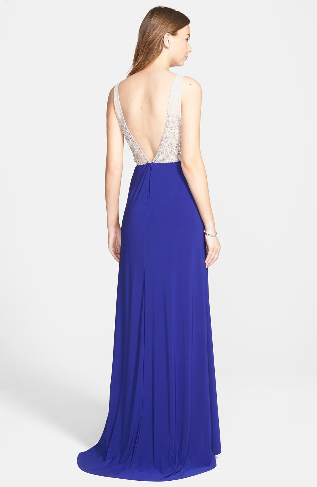 Alternate Image 2  - Hailey by Adrianna Papell Beaded Open Back Jersey Gown