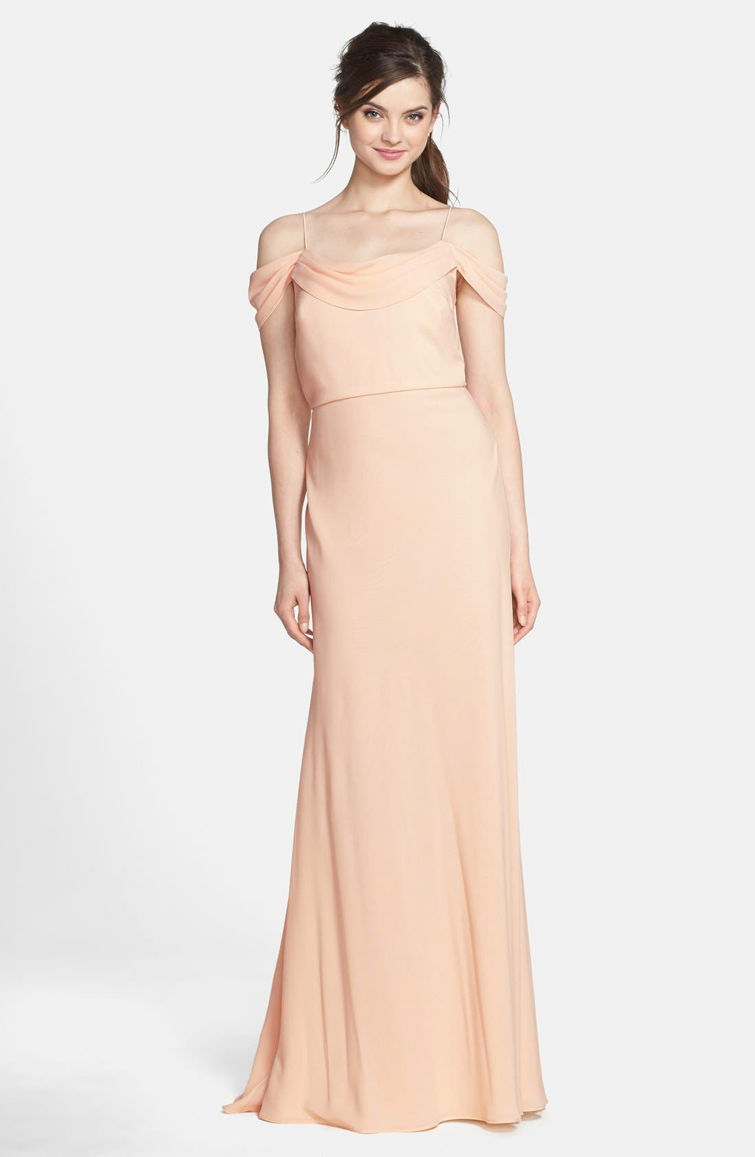 Alternate Image 1 Selected - Jenny Yoo 'Sabine' Drop Shoulder Crêpe de Chine Gown