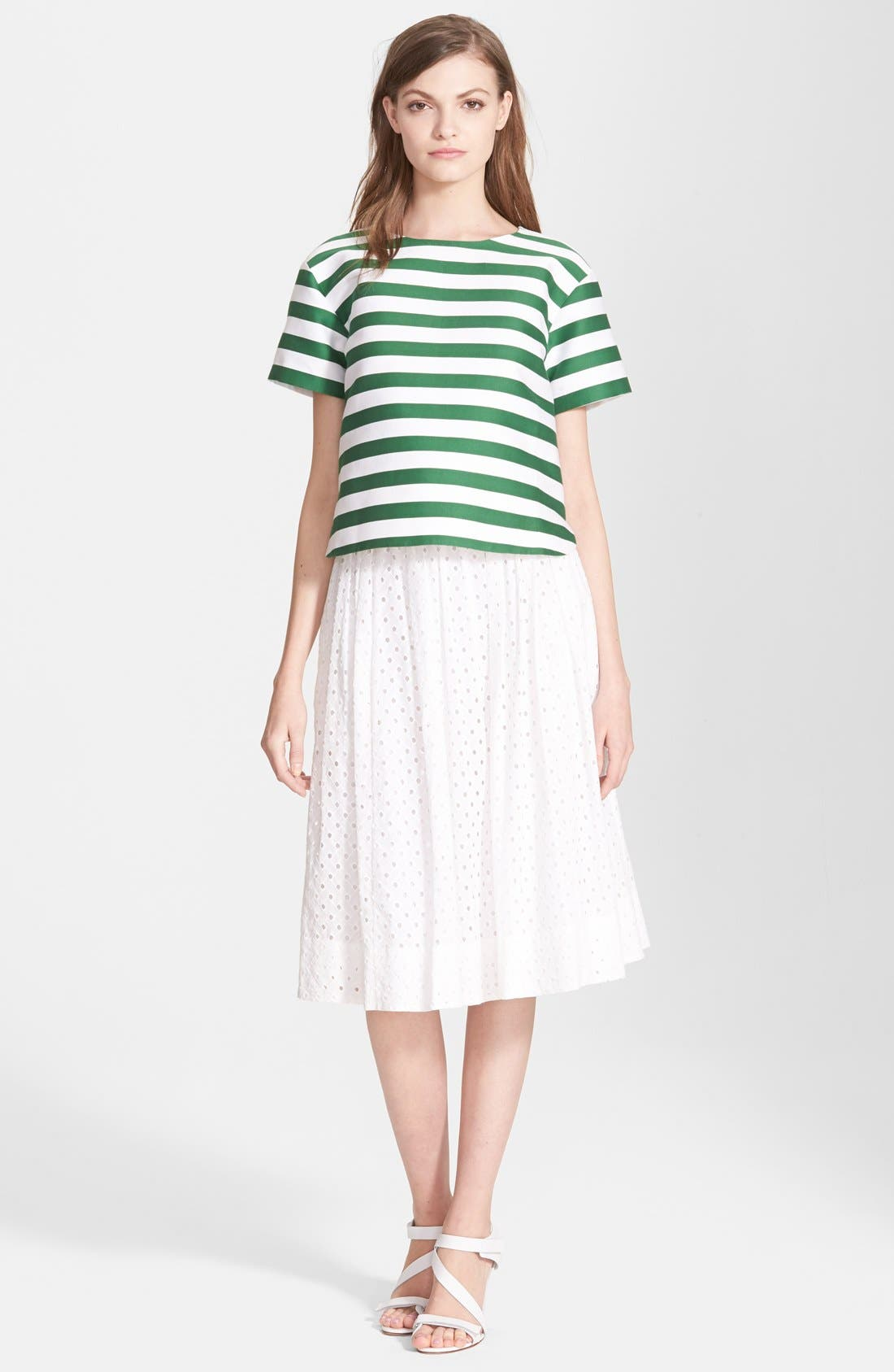Alternate Image 4  - kate spade new york pleated eyelet a-line skirt