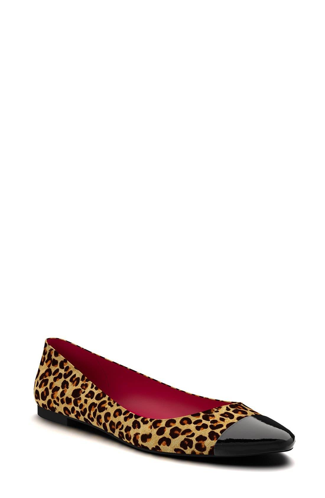 Alternate Image 1 Selected - Shoes of Prey Leopard Genuine Calf Hair Ballet Flat (Women)