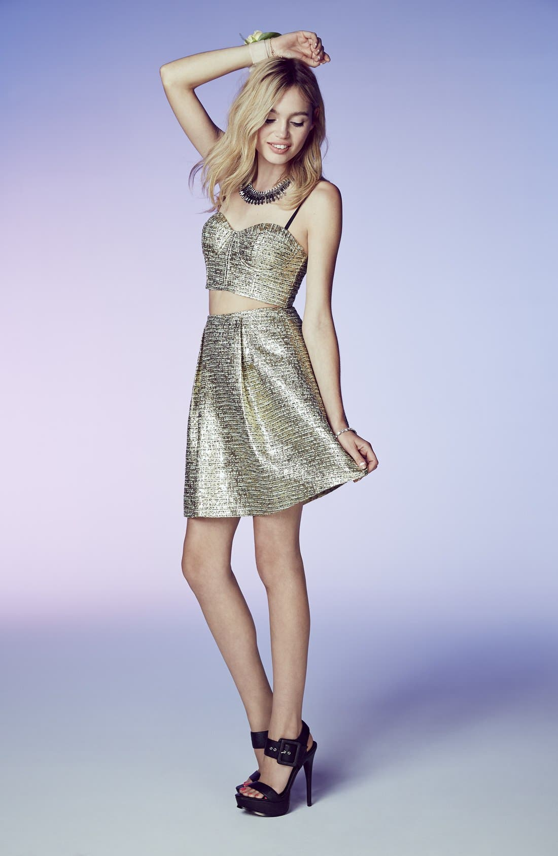 Alternate Image 4  - a. drea 'Maddie' Textured Metallic Two-Piece Dress (Juniors)