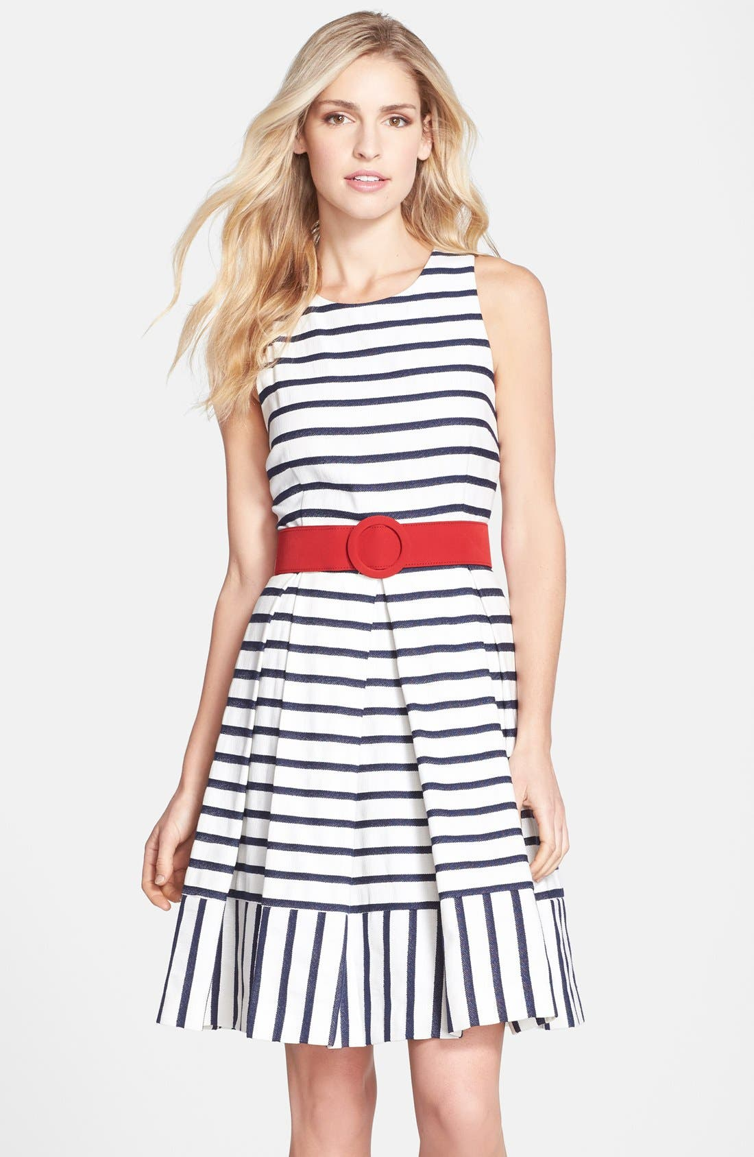 Alternate Image 1 Selected - Eliza J Belted Stripe Fit & Flare Dress (Regular & Petite)