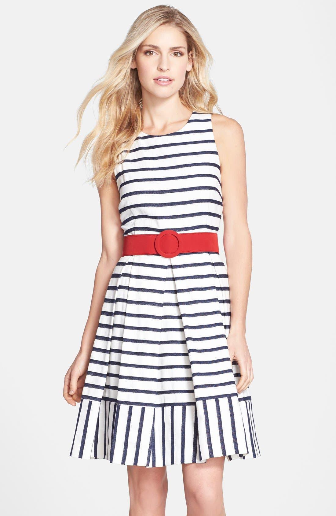 Main Image - Eliza J Belted Stripe Fit & Flare Dress (Regular & Petite)