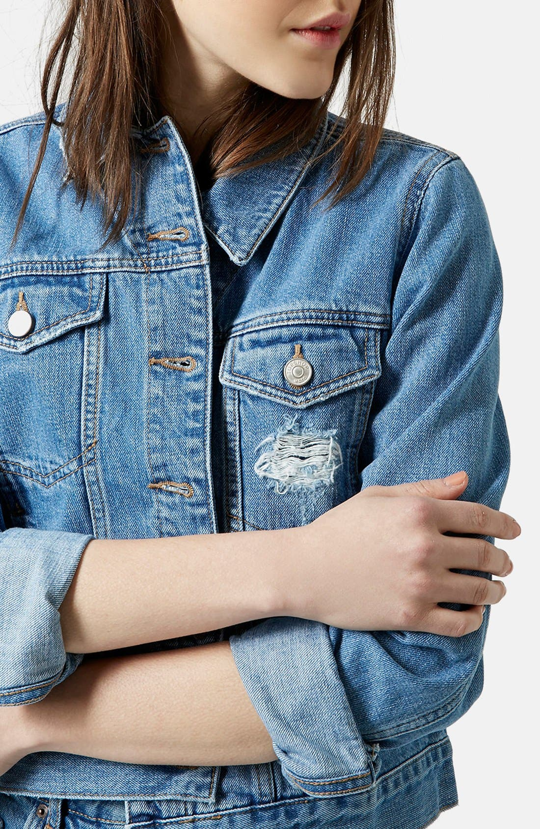 Alternate Image 4  - Topshop Moto 'Tilda' Denim Jacket