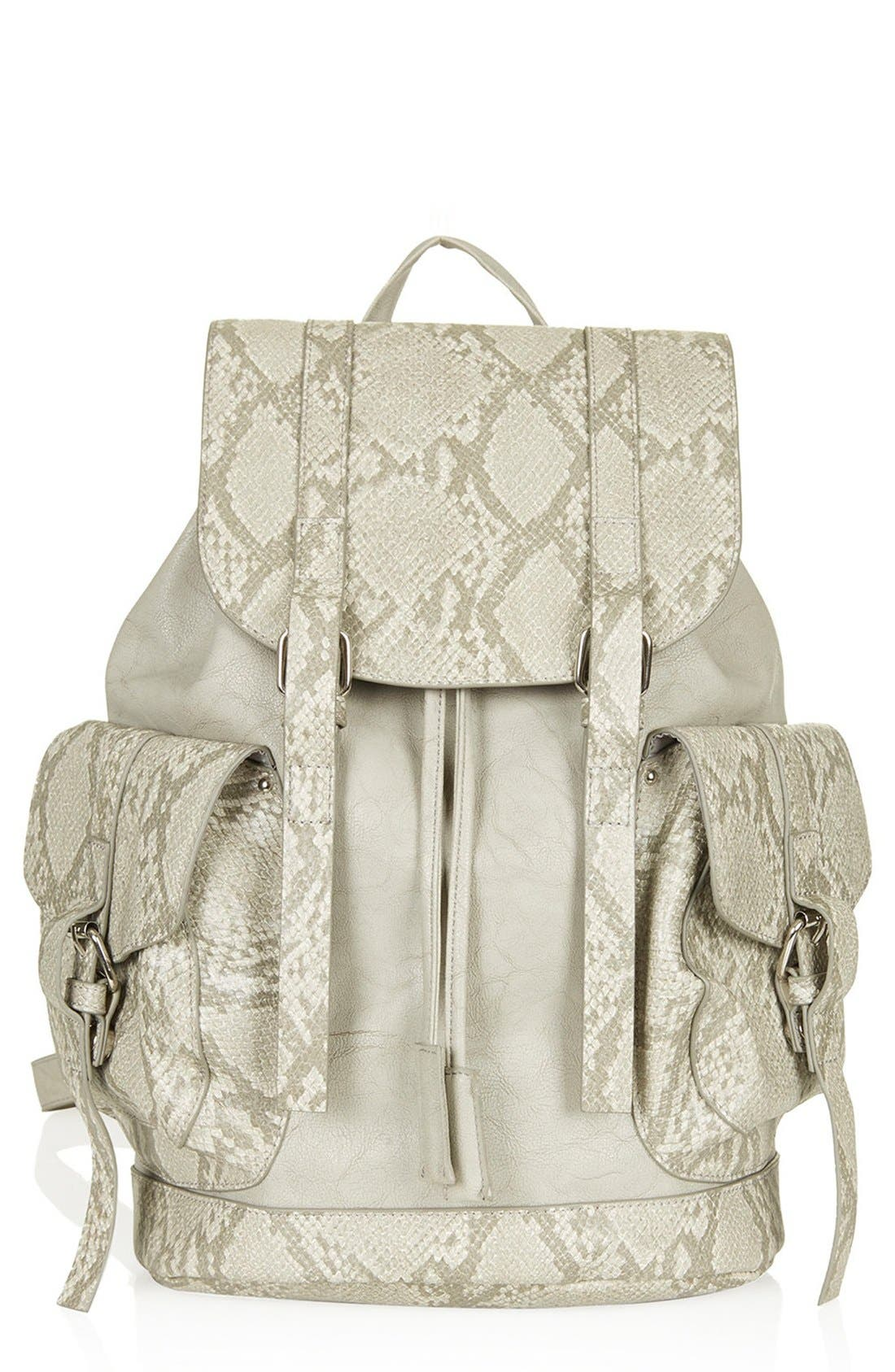 Main Image - Topshop Snakeskin Pocket Faux Leather Backpack
