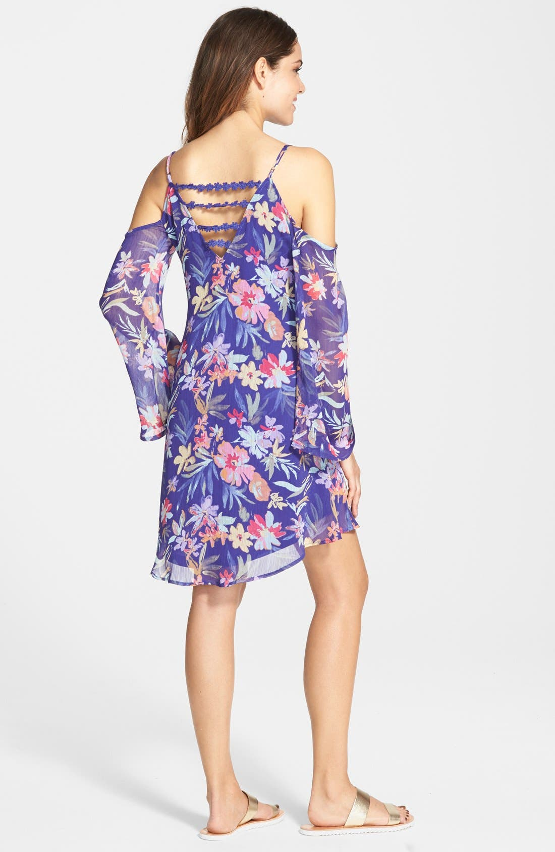 Alternate Image 2  - Fire Floral Print Chiffon Cold Shoulder Dress (Juniors)