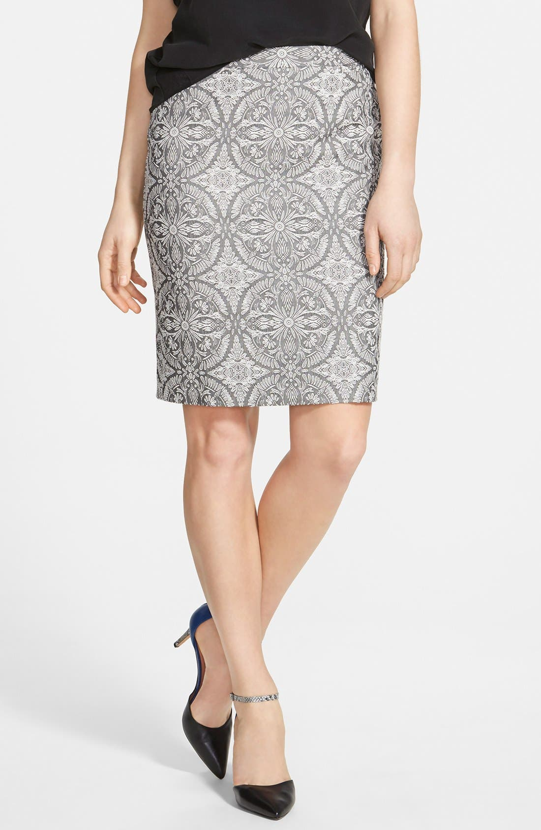 Alternate Image 1 Selected - Halogen® Welt Pocket Pencil Skirt (Regular & Petite)