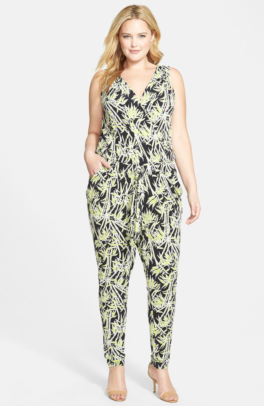 Main Image - MICHAEL Michael Kors Bamboo Print Surplice Jersey Jumpsuit (Plus Size)