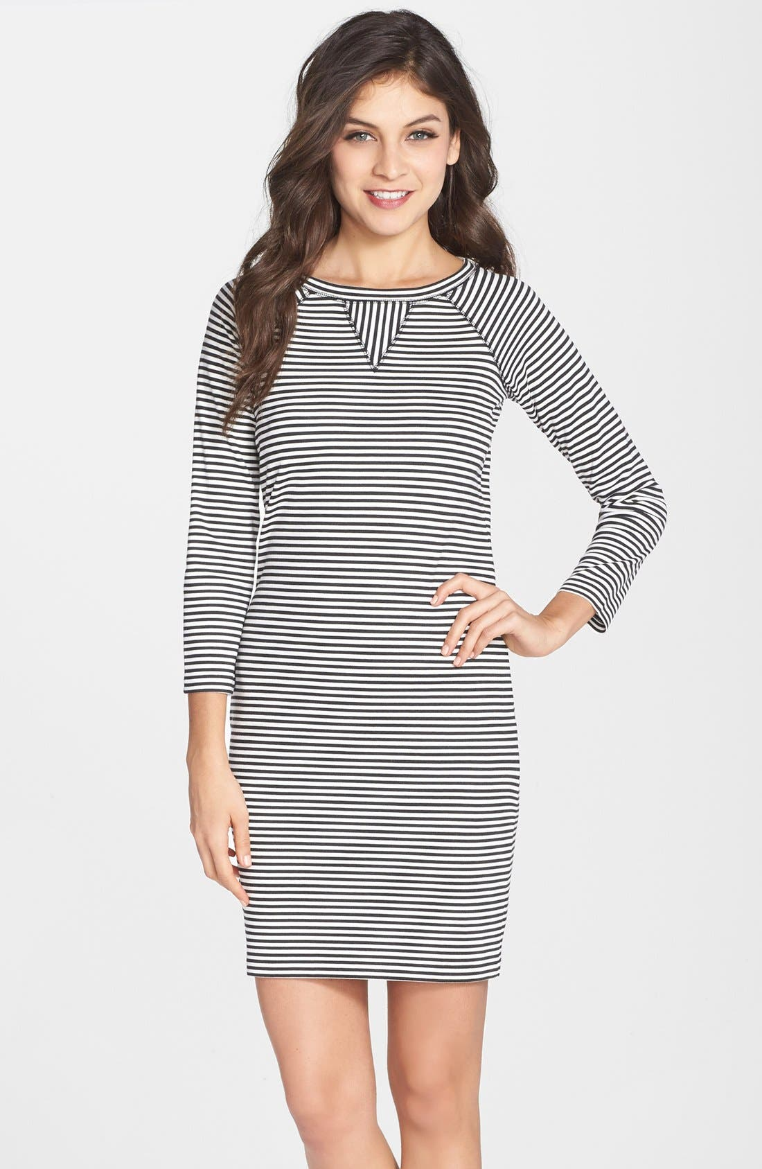 Alternate Image 1 Selected - French Connection 'Licorice Lines' Stripe Jersey Shift Dress