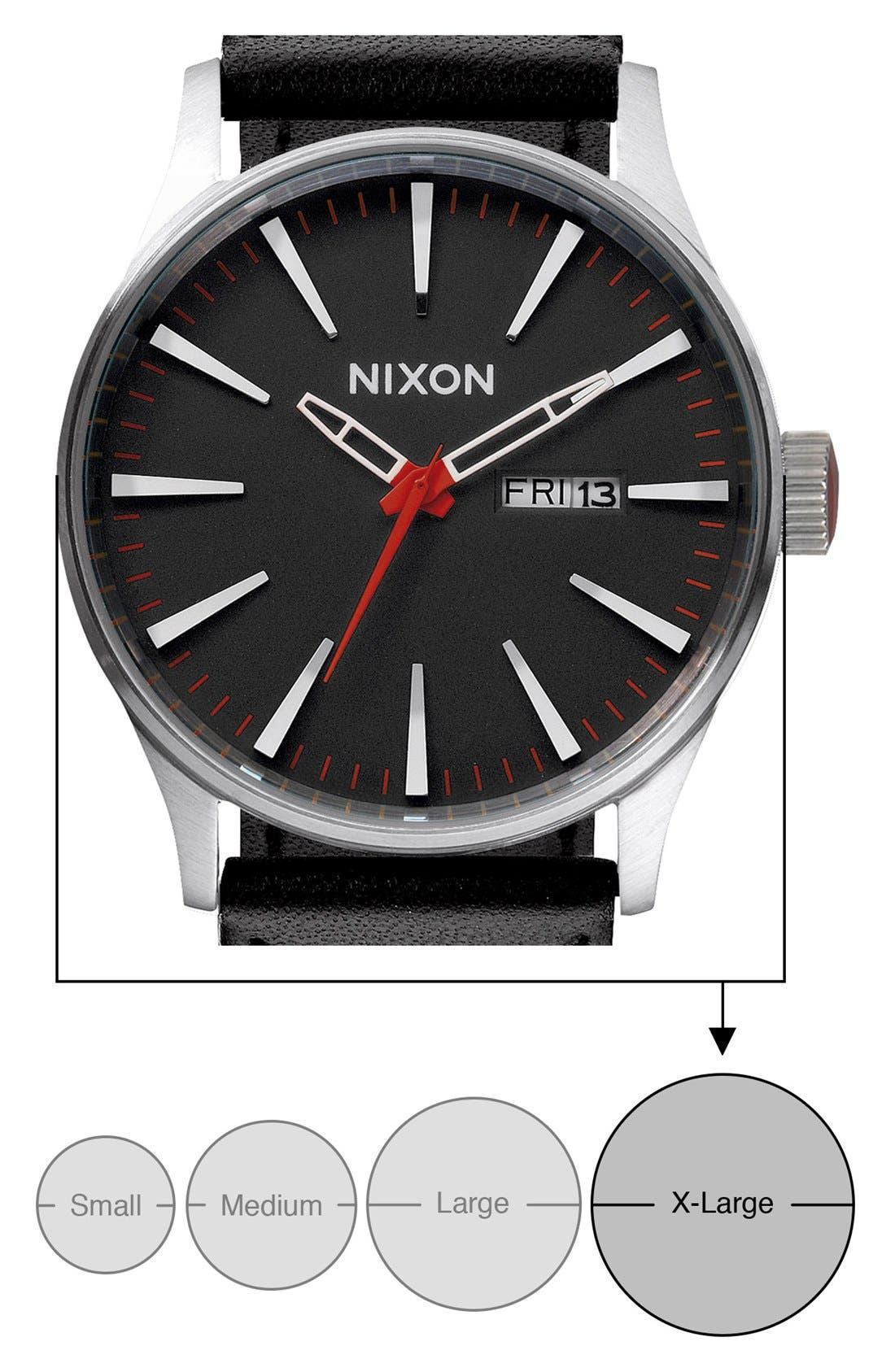 Alternate Image 5  - Nixon 'The Sentry' Leather Watch, 42mm