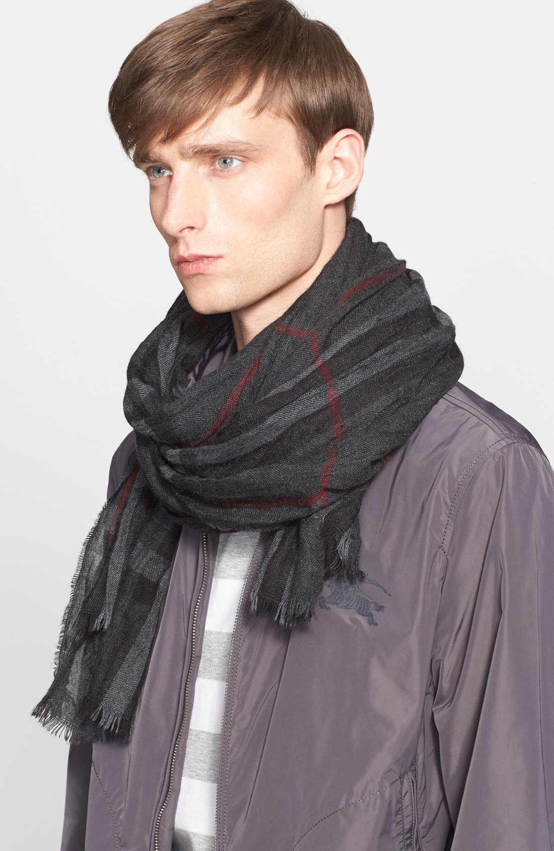 Alternate Image 5  - Burberry Crinkled Merino Wool & Cashmere Scarf
