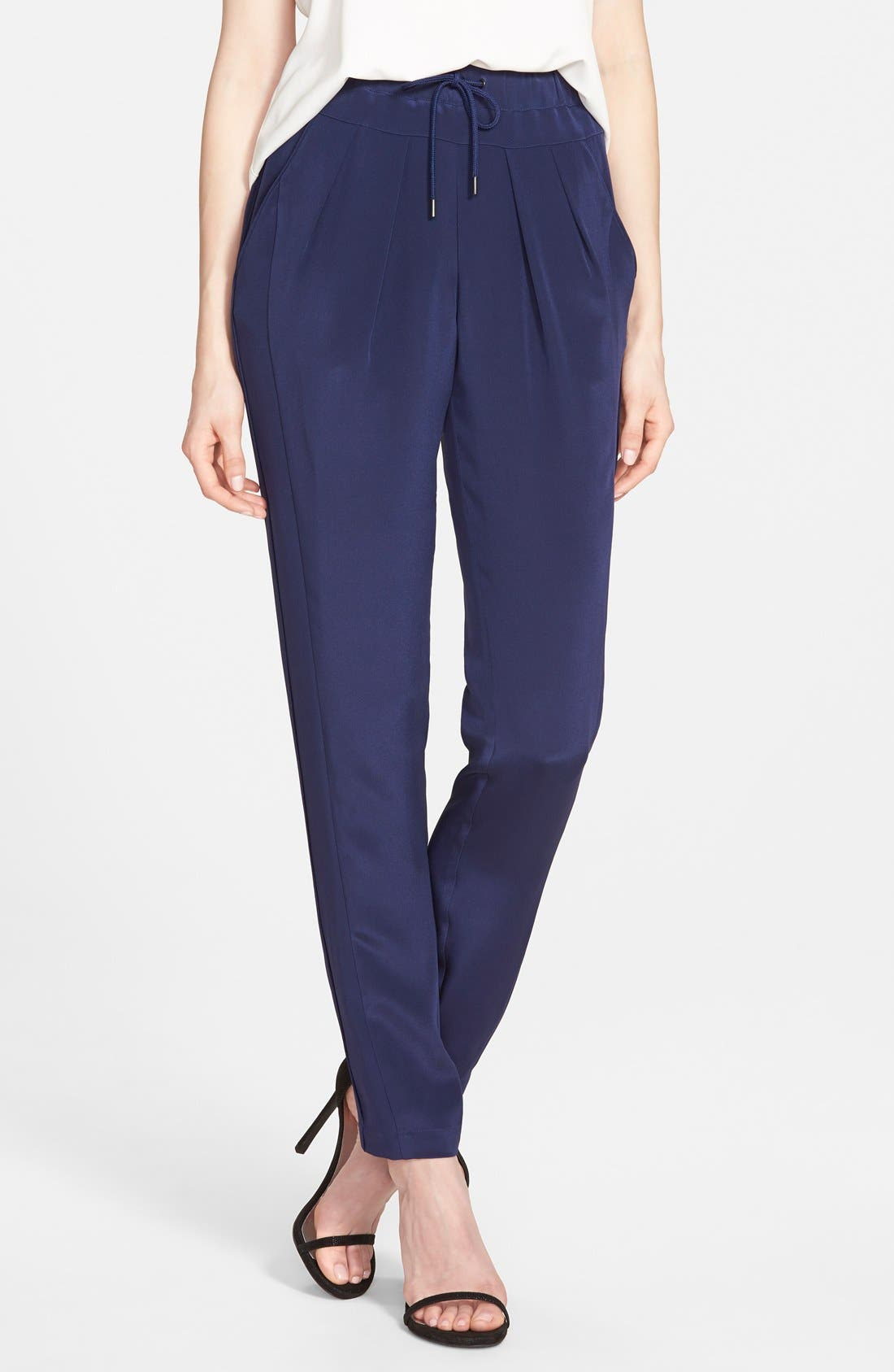 Alternate Image 1 Selected - Rebecca Minkoff 'Malone' Silk Drawstring Pants