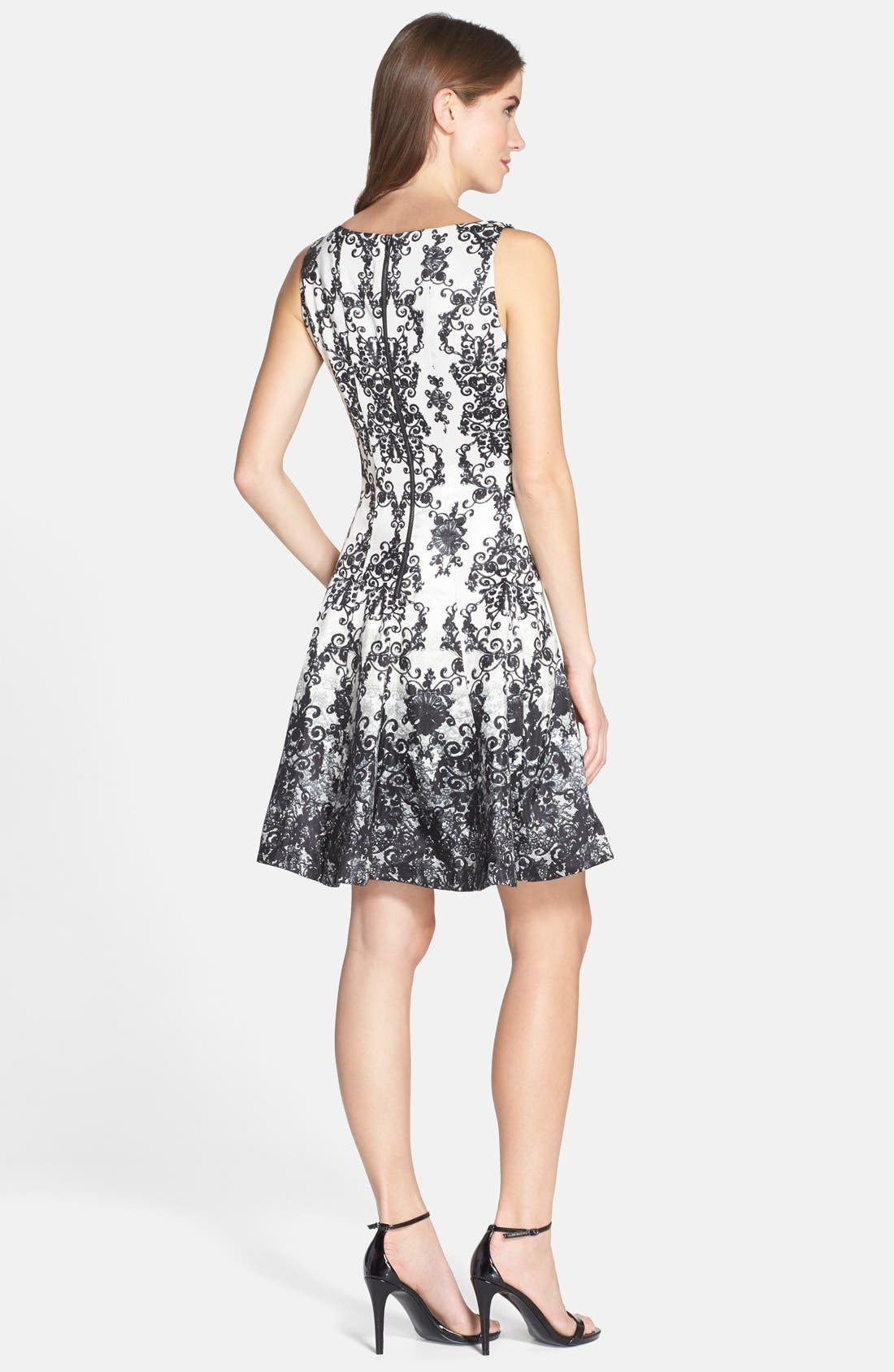 Alternate Image 2  - Taylor Dresses Print Shantung Fit & Flare Dress (Regular & Petite)