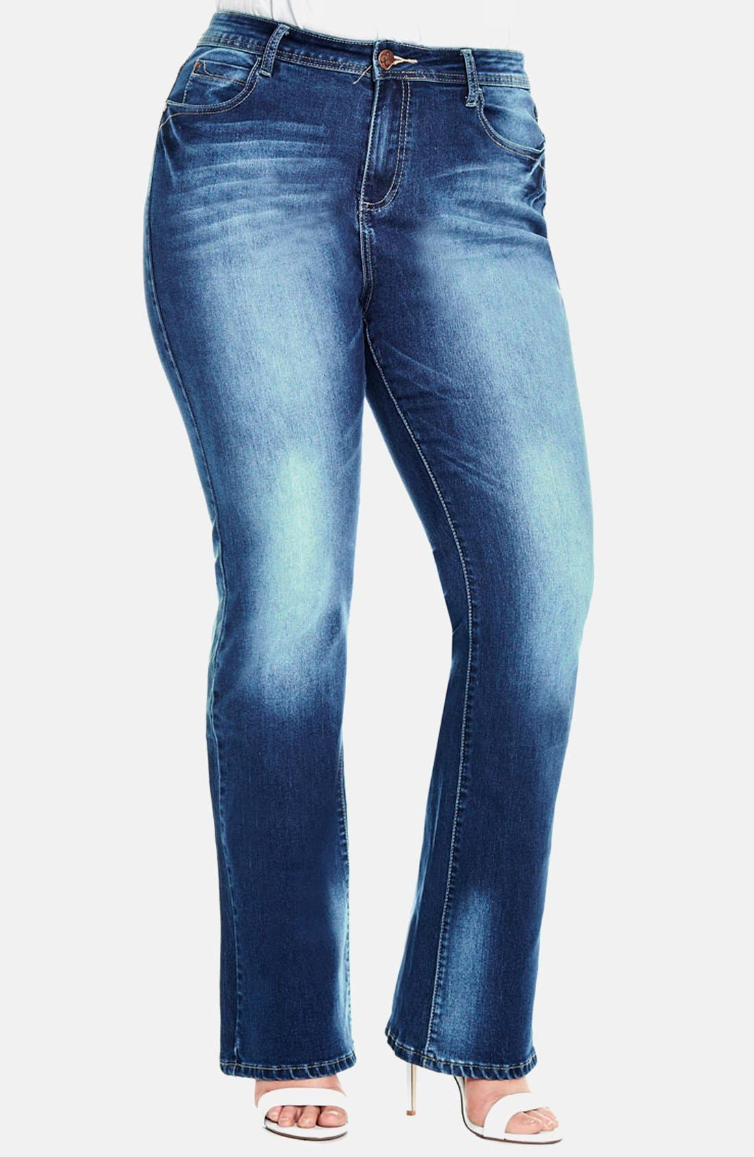 Alternate Image 1 Selected - City Chic 'Clean Cut' Stretch Bootcut Jeans (Mid Denim) (Plus Size)
