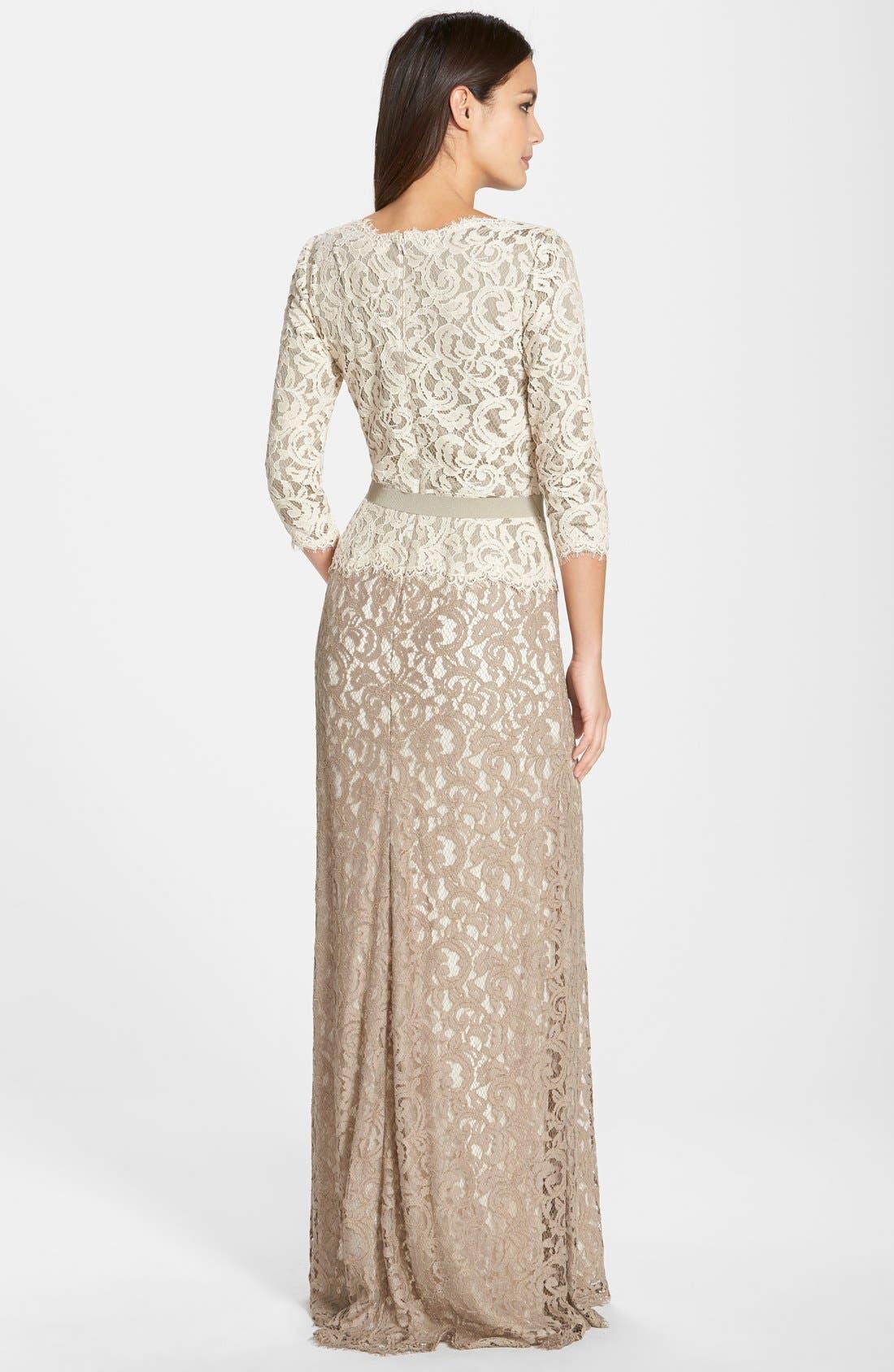 Alternate Image 2  - Tadashi Shoji Belted Lace Gown (Regular & Petite)