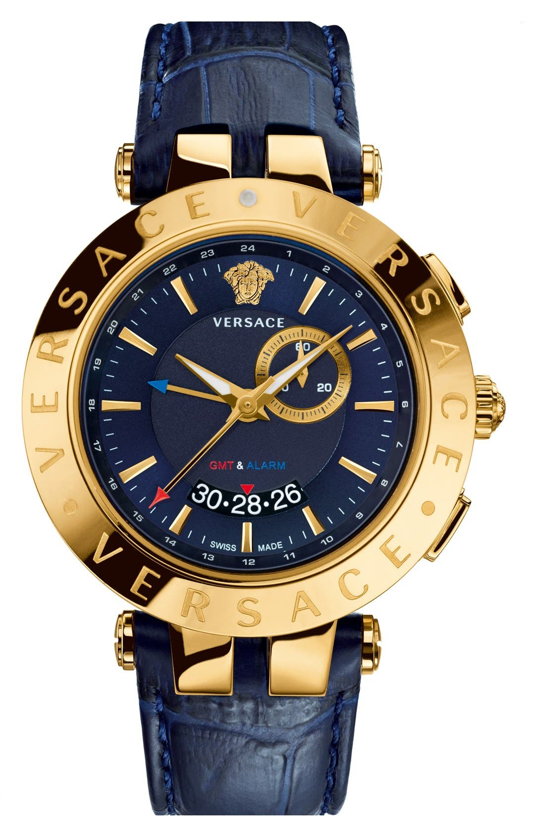 Alternate Image 1 Selected - Versace 'V-Race GMT' Round Leather Strap Watch, 46mm